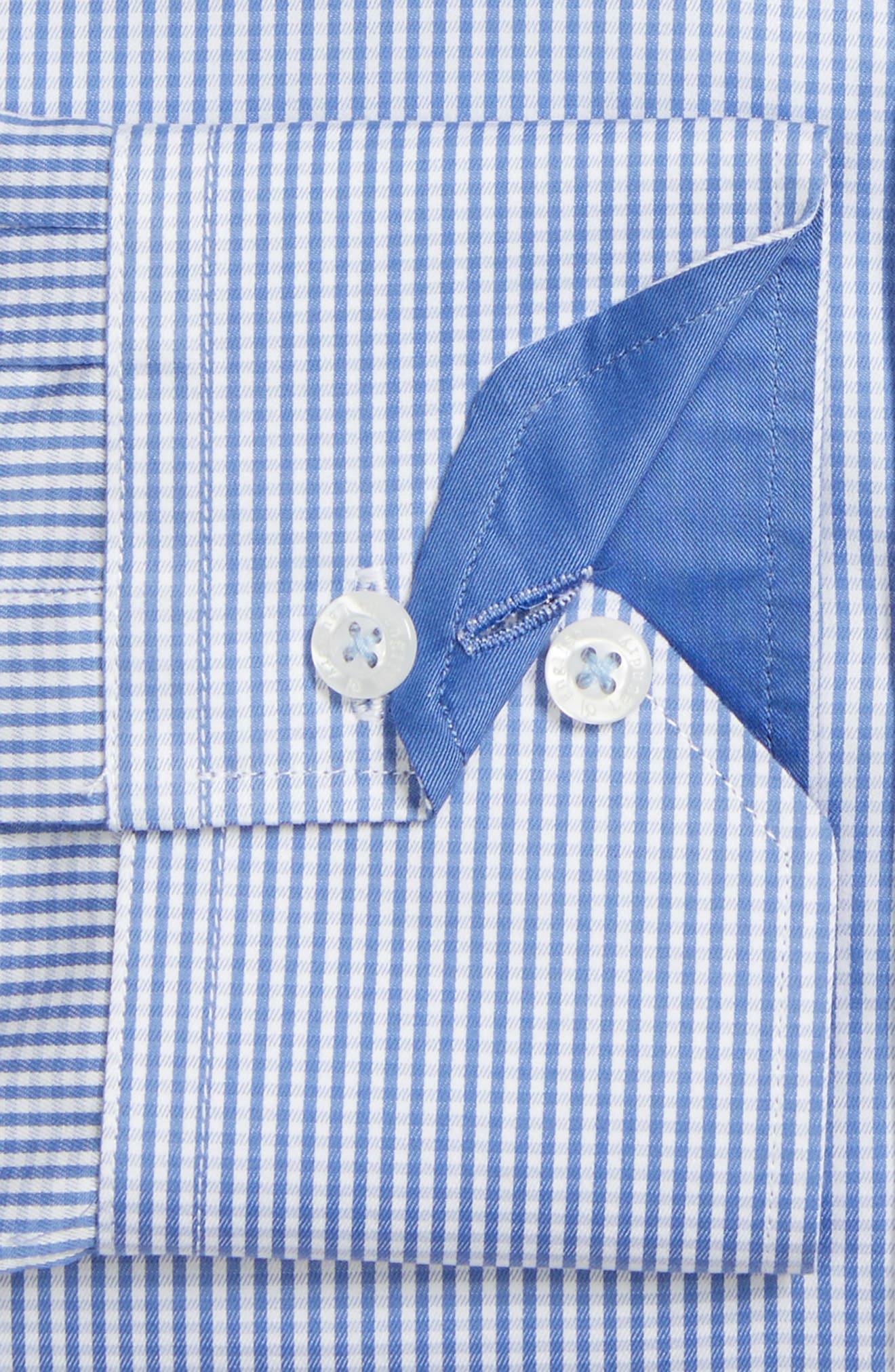 Trim Fit Check Dress Shirt,                             Alternate thumbnail 3, color,