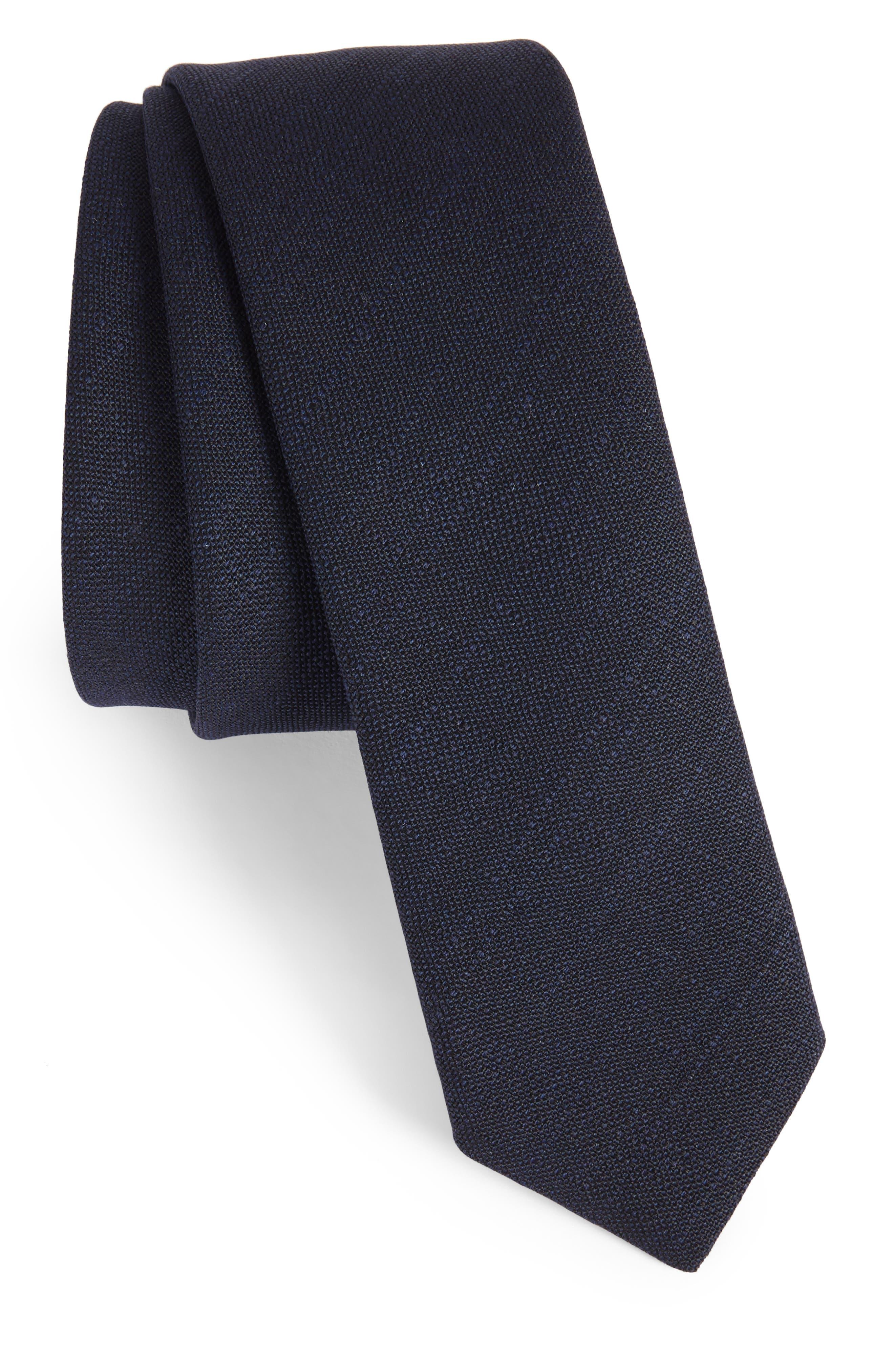 Jaspé Wool Skinny Tie,                             Main thumbnail 1, color,