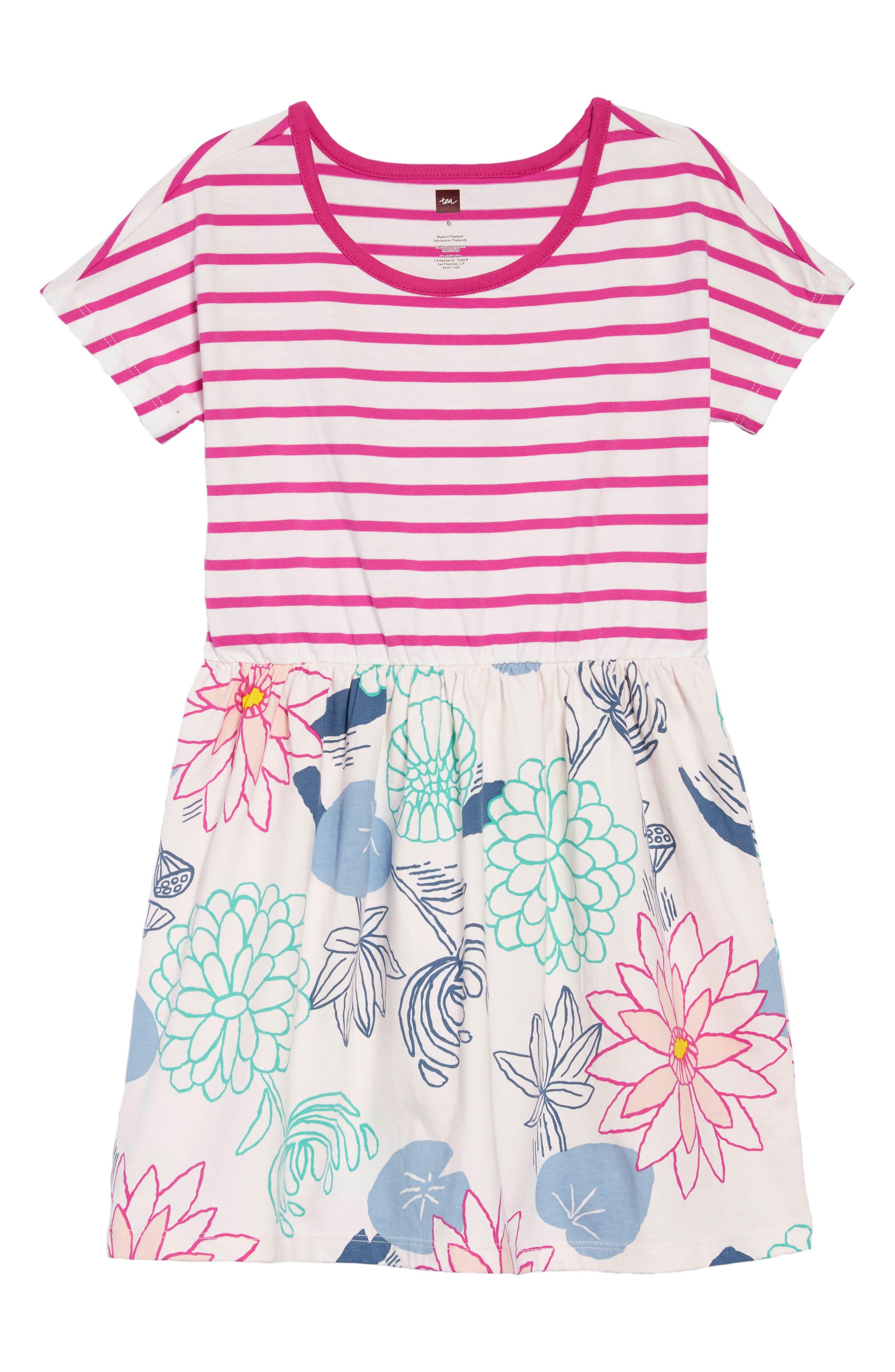 Mixed Print Dress,                             Main thumbnail 1, color,                             LILYPAD FLORAL - SILKWORM