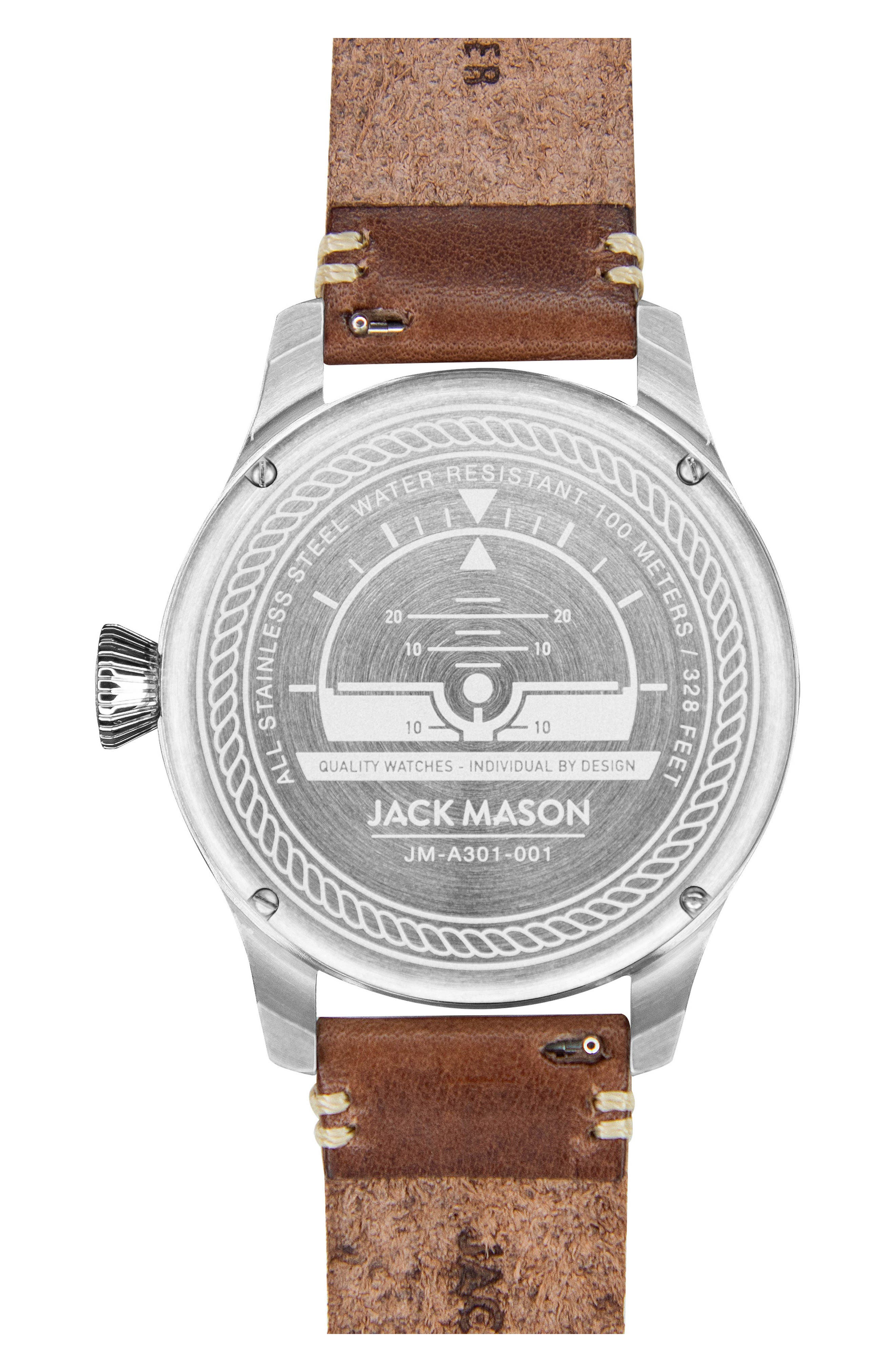 Aviation Leather Strap Watch, 45mm,                             Alternate thumbnail 5, color,