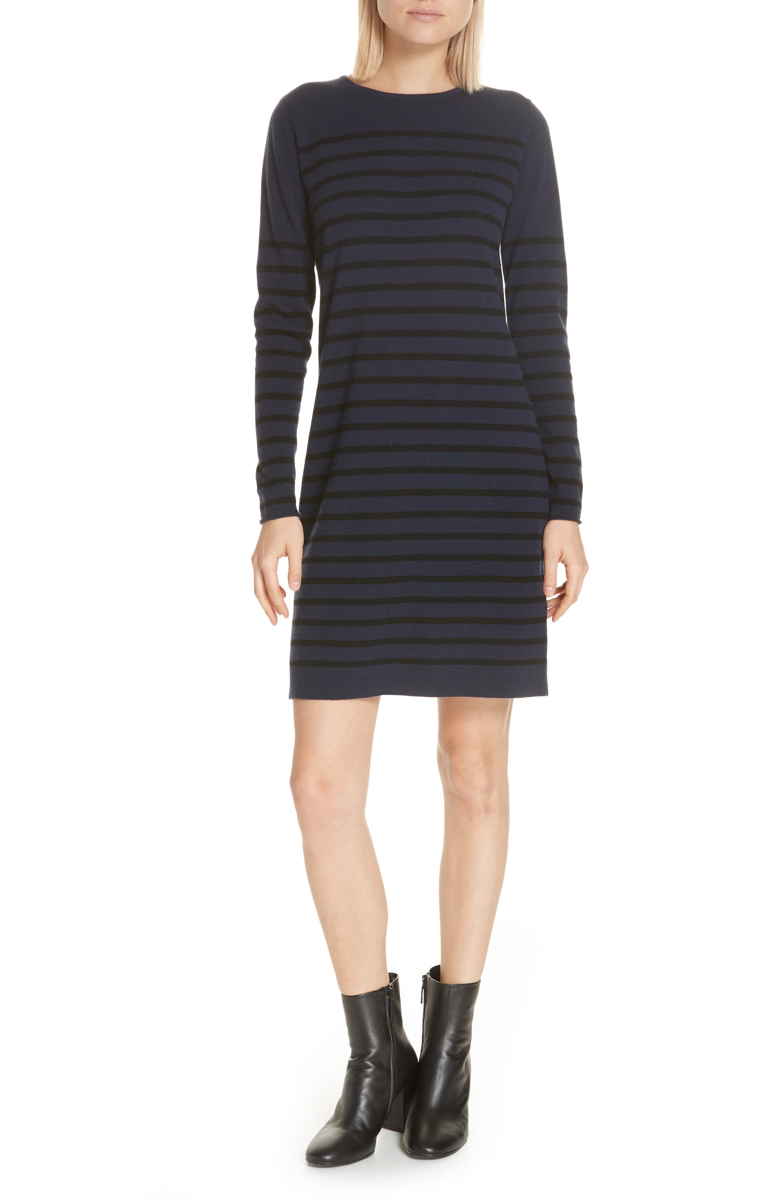 Stripe Wool & Cashmere Sweater Dress,                         Main,                         color, NAVY/ BLACK