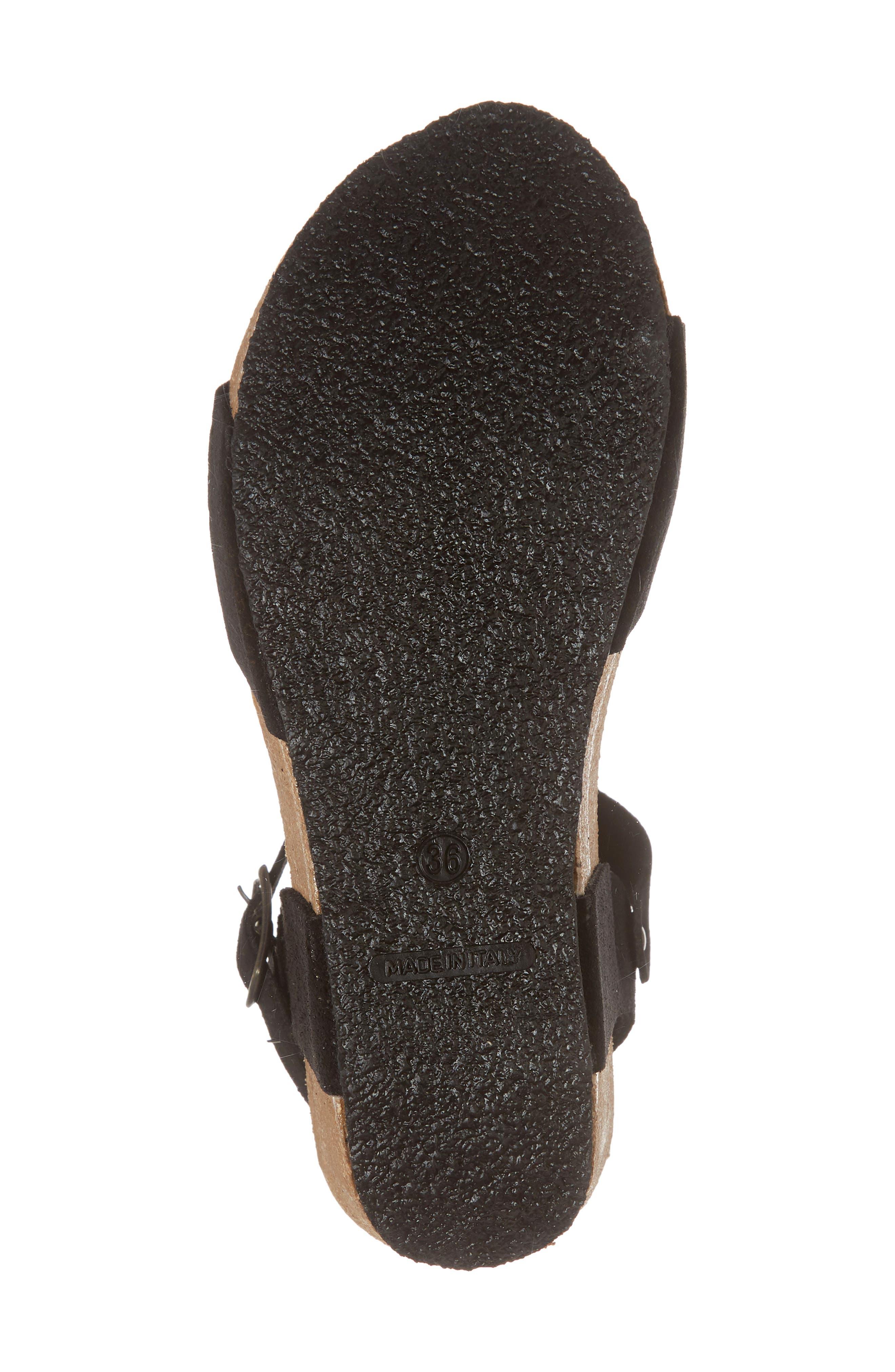 Lolo Platform Wedge Sandal,                             Alternate thumbnail 6, color,                             BLACK SUEDE