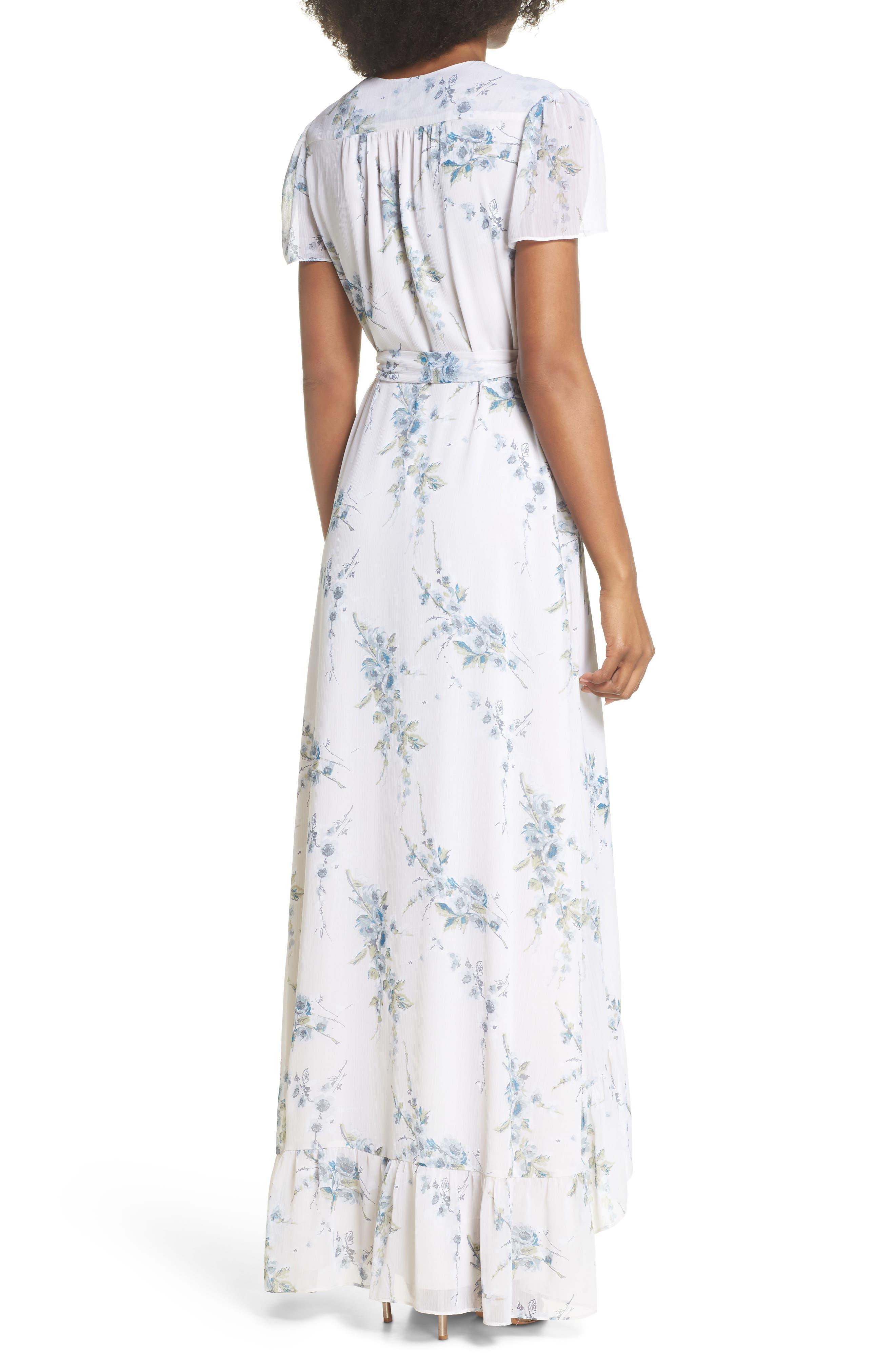 The Natasha Floral Wrap Maxi Dress,                             Alternate thumbnail 2, color,                             BLUE GARDEN FLORAL