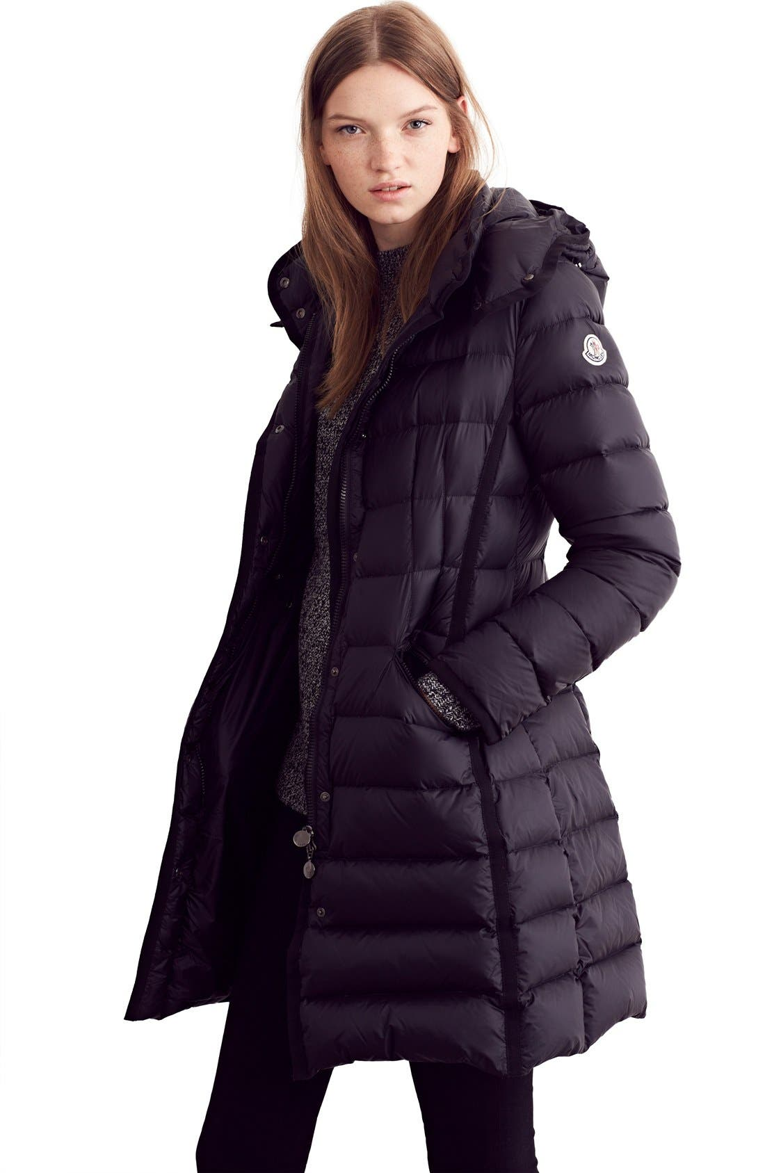 'Hermine' Grosgrain Trim Water Resistant Down Coat,                             Alternate thumbnail 10, color,                             BLACK