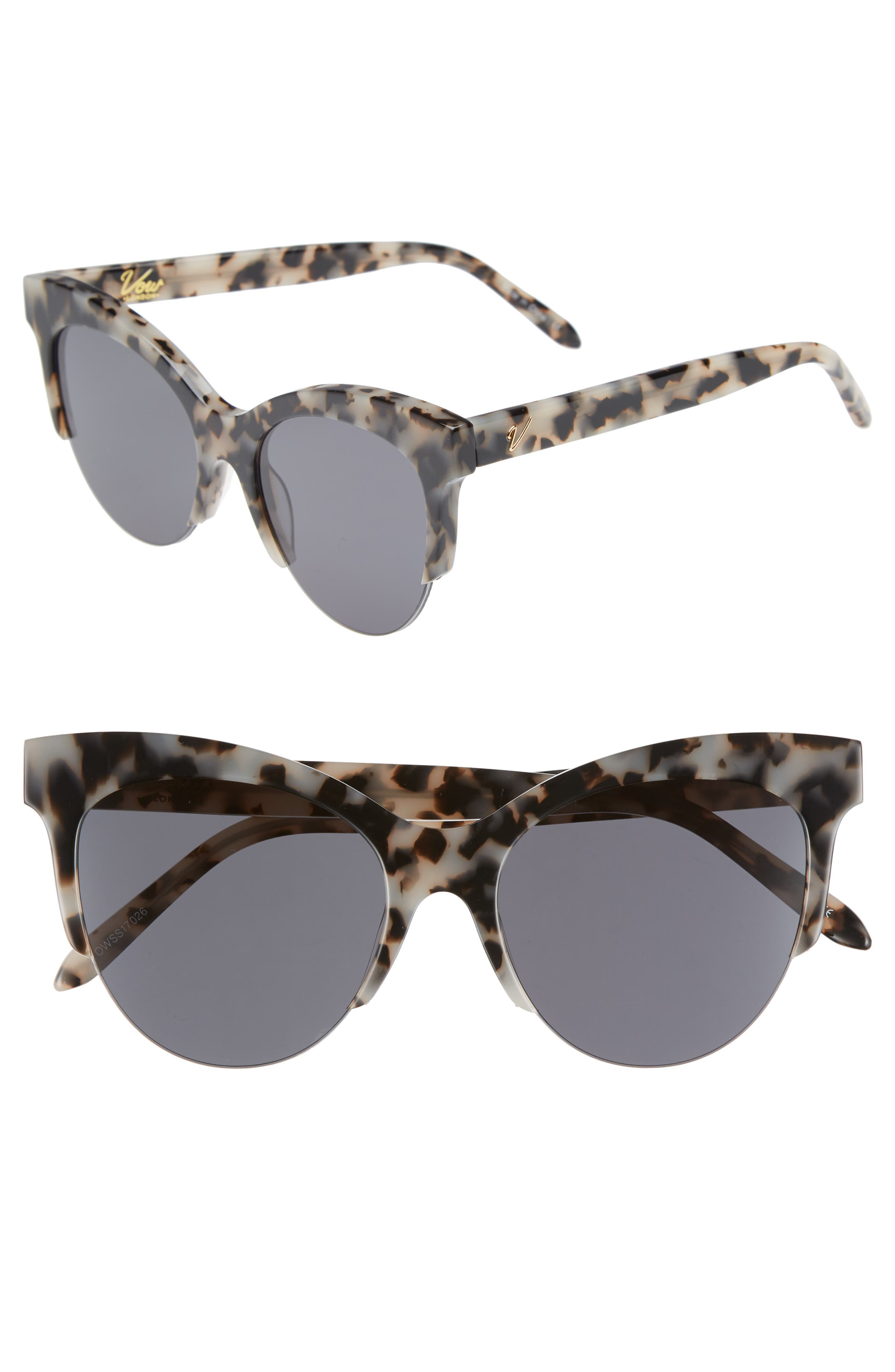 Cody 53mm Cat Eye Sunglasses,                             Main thumbnail 1, color,                             MILKY TORTOISE/ SMOKE