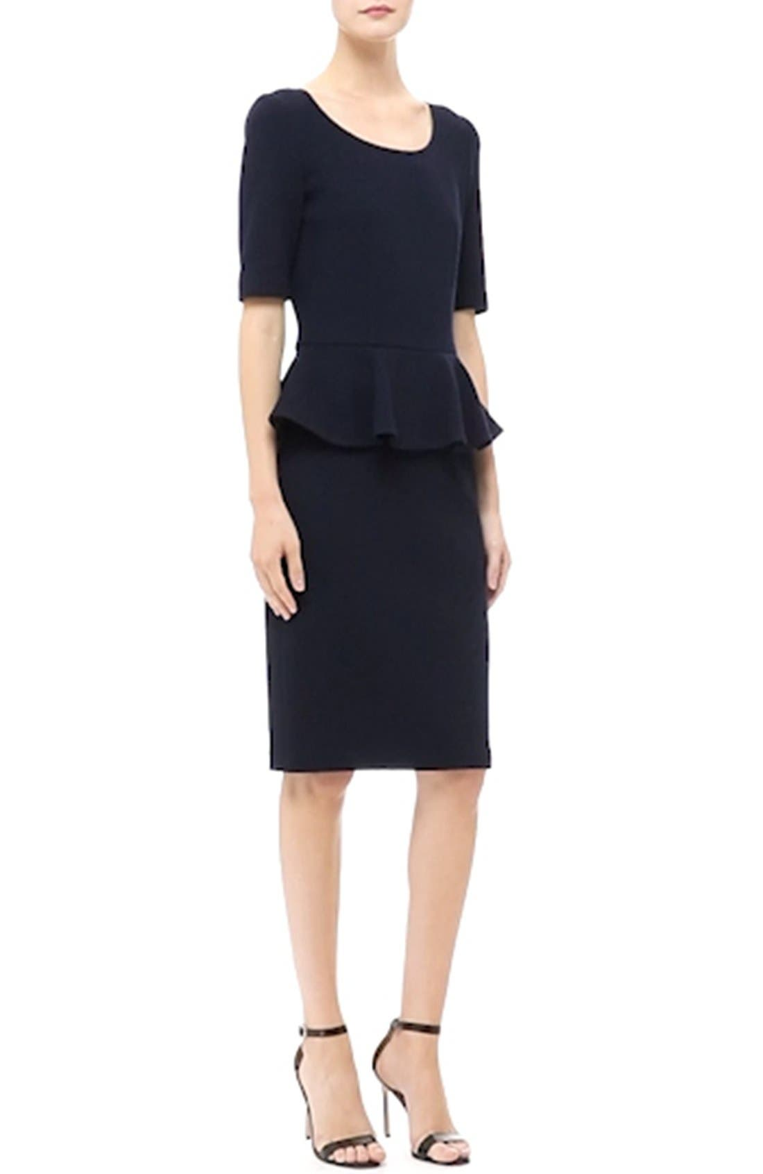 Peplum Milano Piqué Knit Dress,                             Alternate thumbnail 6, color,                             400