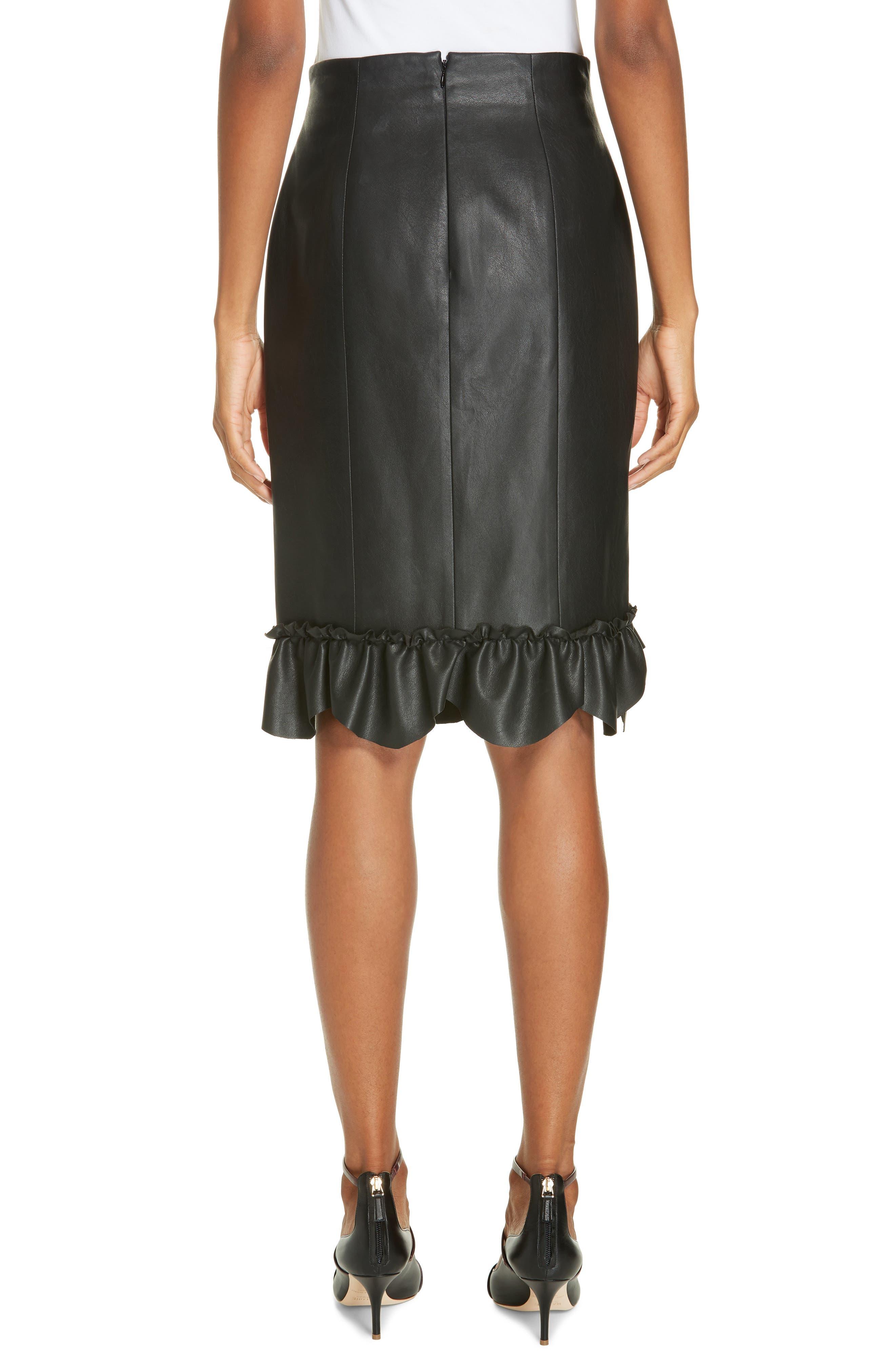 Faux Leather Ruffle Skirt,                             Alternate thumbnail 2, color,                             BLACK