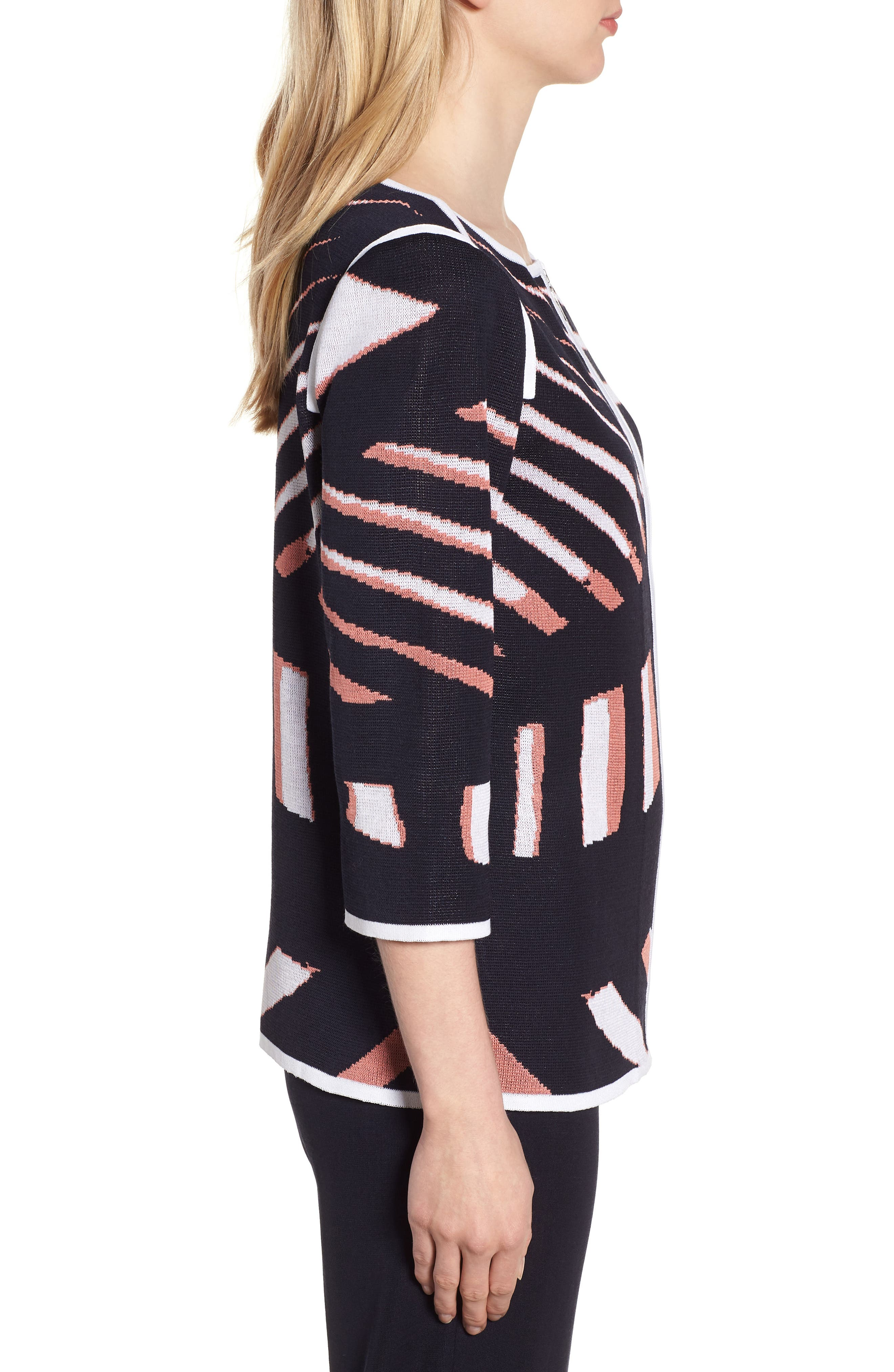 Zip Front Knit Jacket,                             Alternate thumbnail 3, color,                             NAVY/ DAYLILY/ WHITE