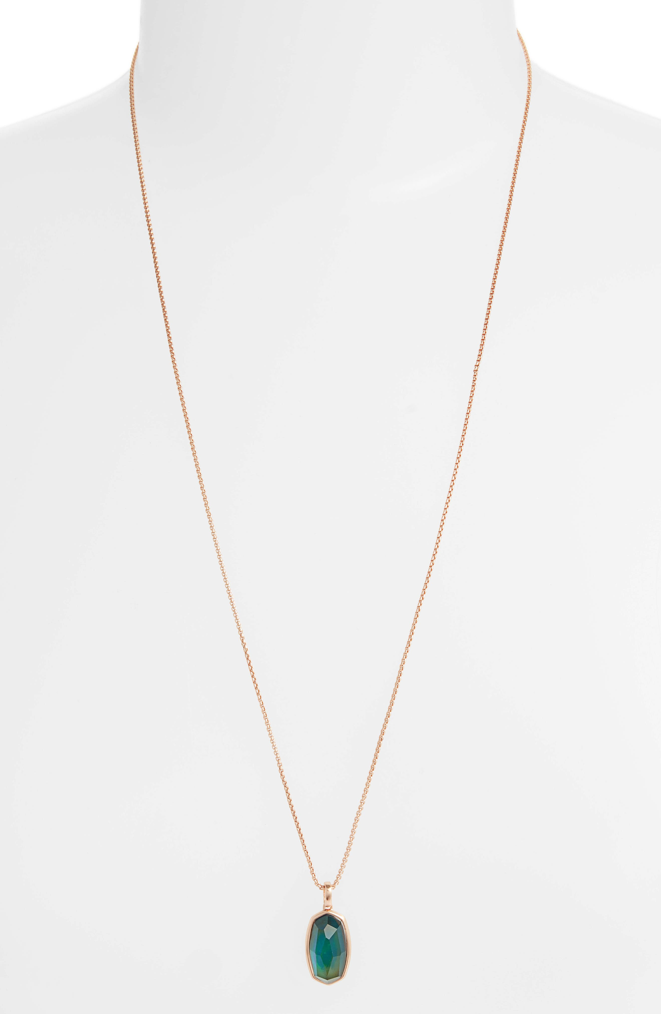 Mood Stone Pendant Necklace,                             Main thumbnail 1, color,                             MOOD STONE/ ROSE GOLD