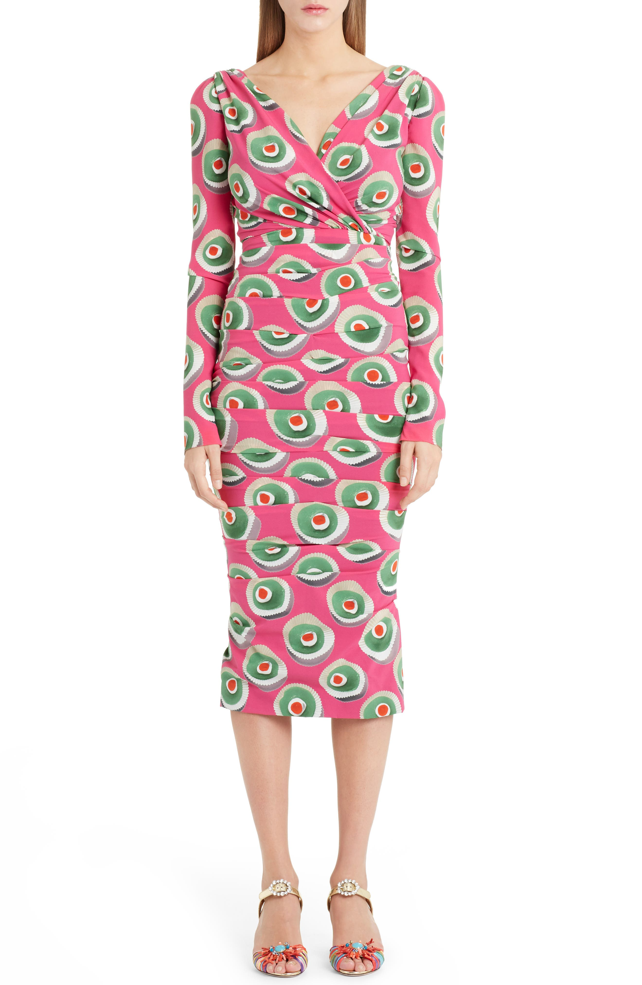 Cassate Print Silk Blend Dress,                             Main thumbnail 1, color,                             651