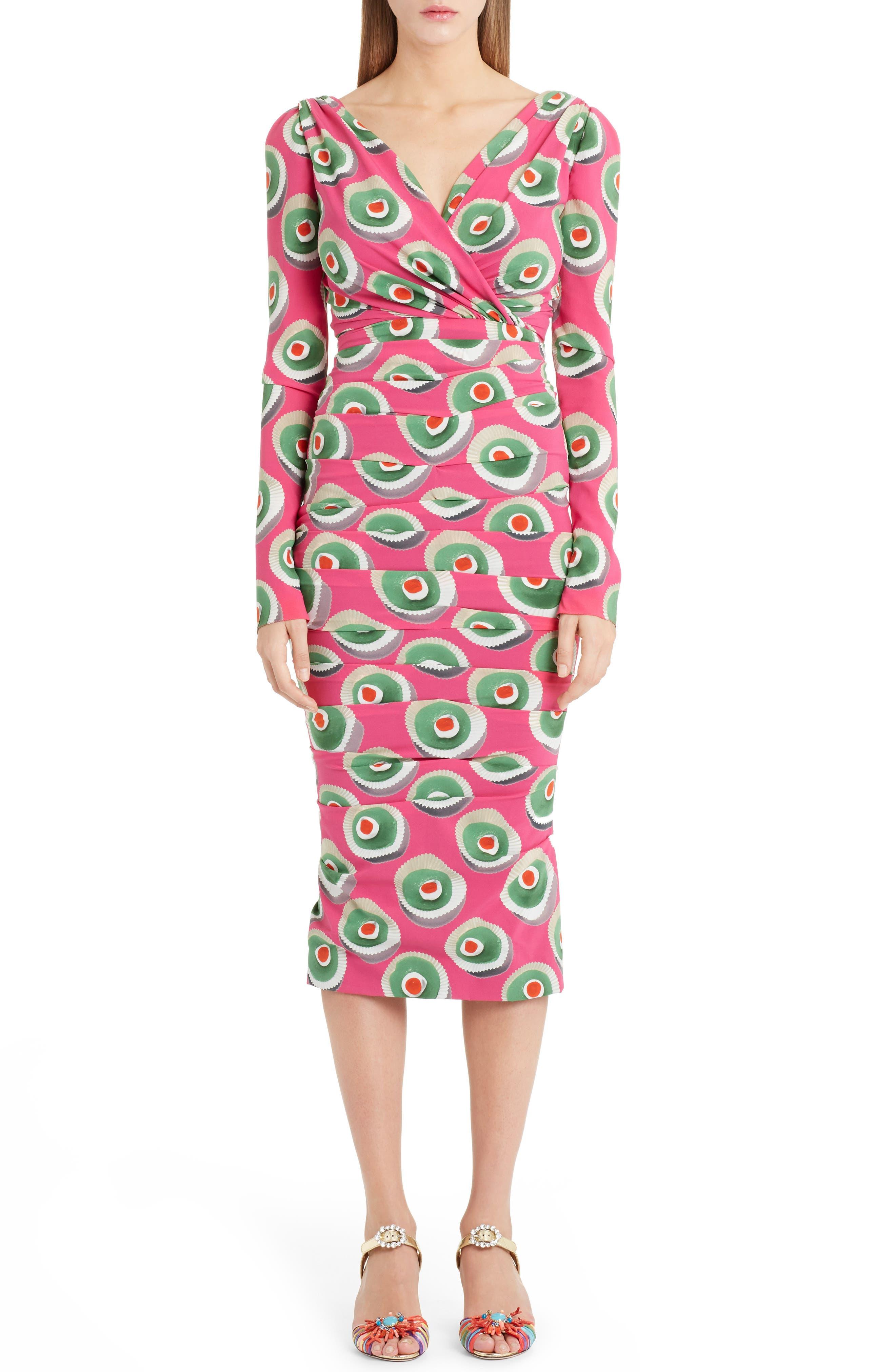 Cassate Print Silk Blend Dress,                         Main,                         color, 651