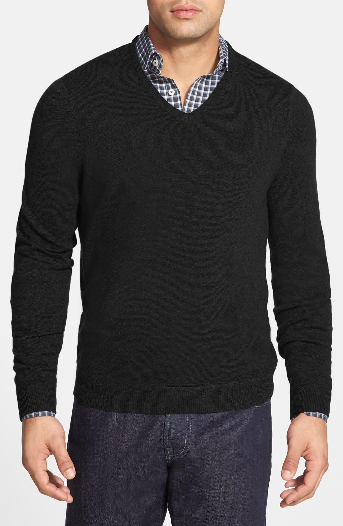 John W. Nordstrom Cashmere V-Neck Sweater,                             Main thumbnail 1, color,                             001
