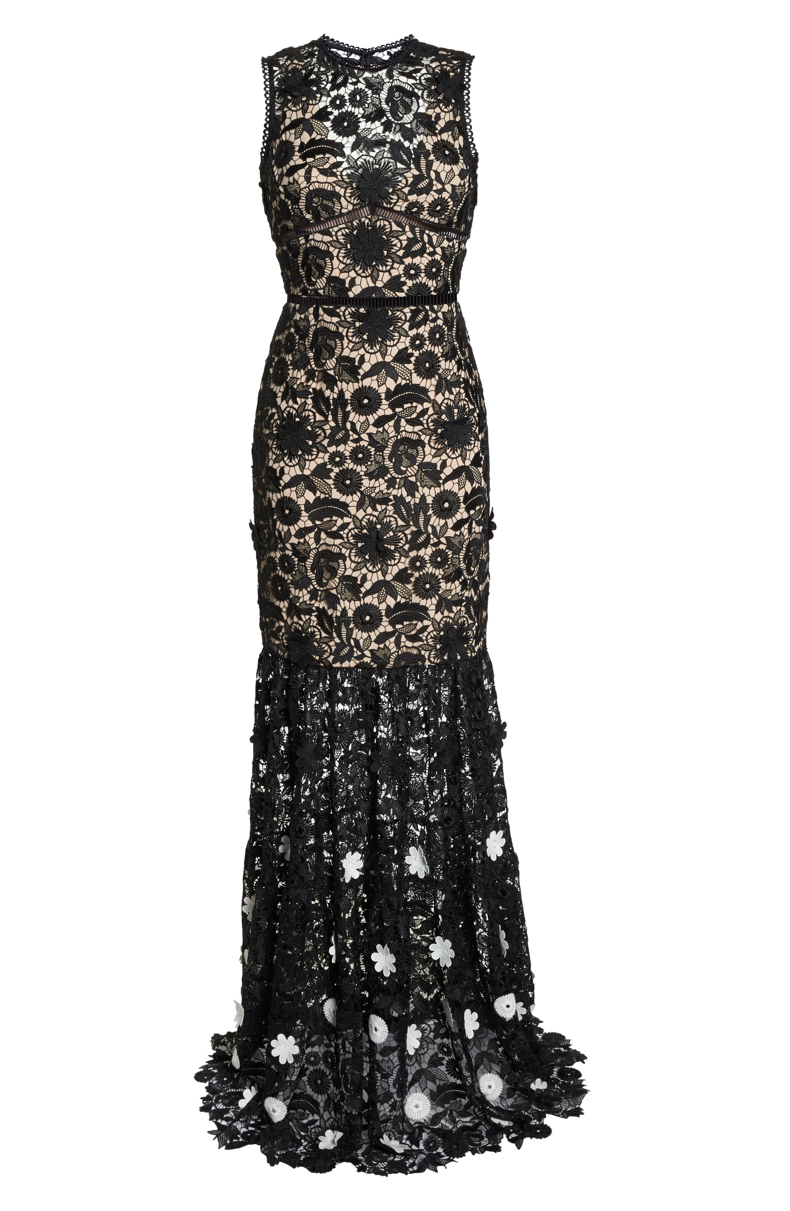 3D Black & White Floral Lace Gown,                             Alternate thumbnail 6, color,                             JET IVORY COMBO