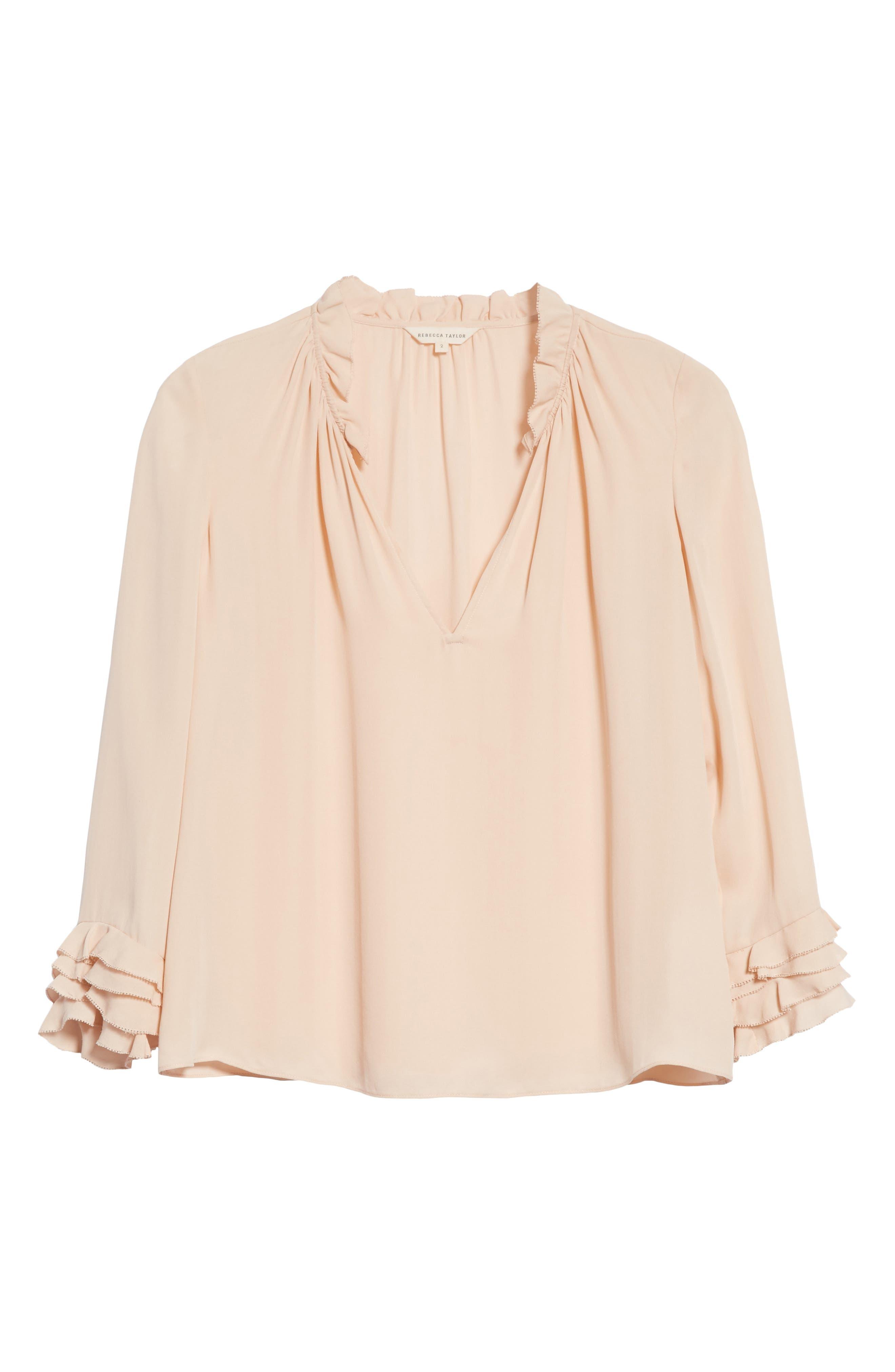 Long Sleeve Ruffle Silk Blouse,                             Alternate thumbnail 6, color,                             696