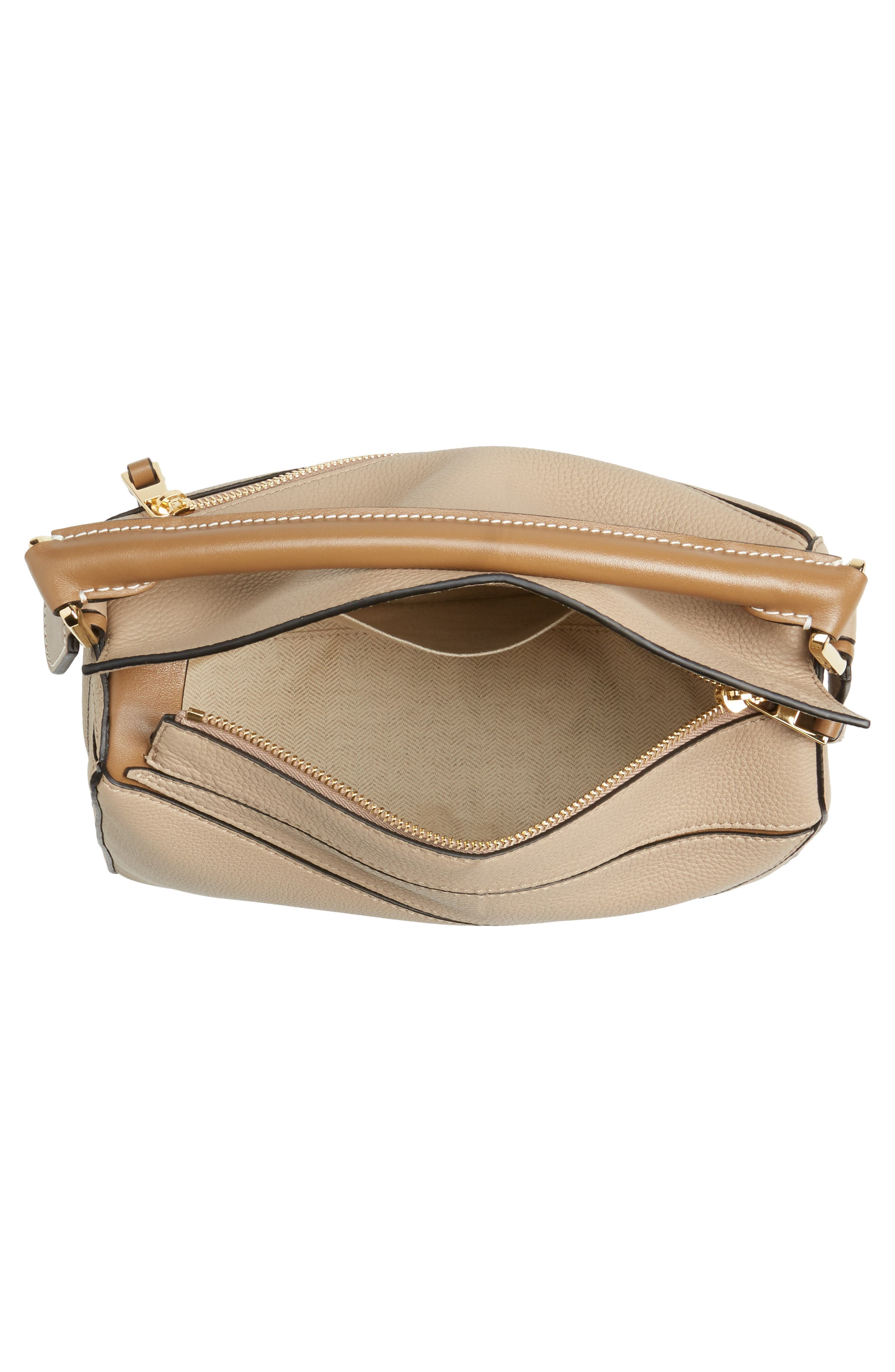 Small Puzzle Leather Bag,                             Alternate thumbnail 4, color,                             SAND/ MINK