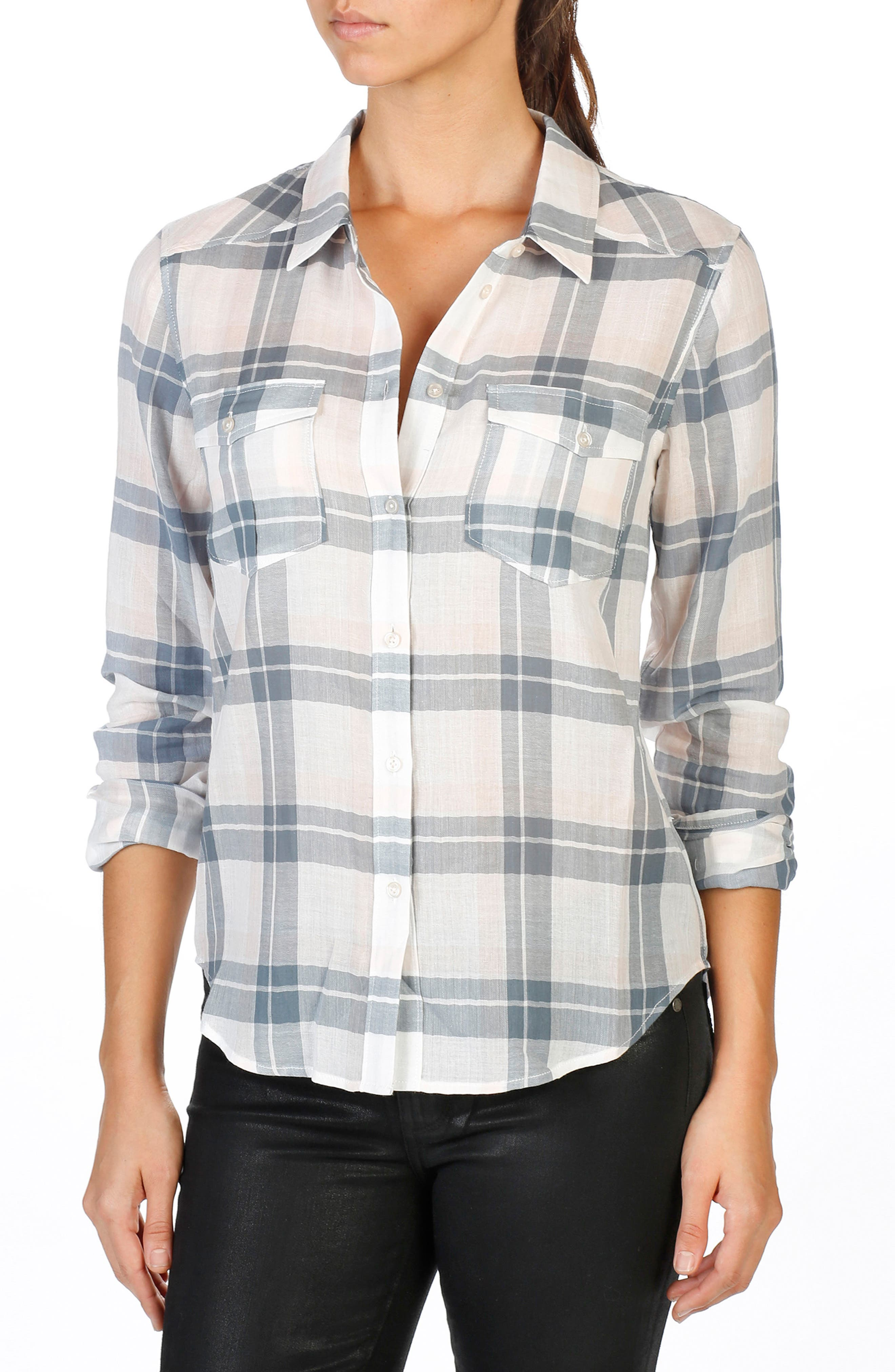 Mya Plaid Shirt,                             Main thumbnail 1, color,                             100