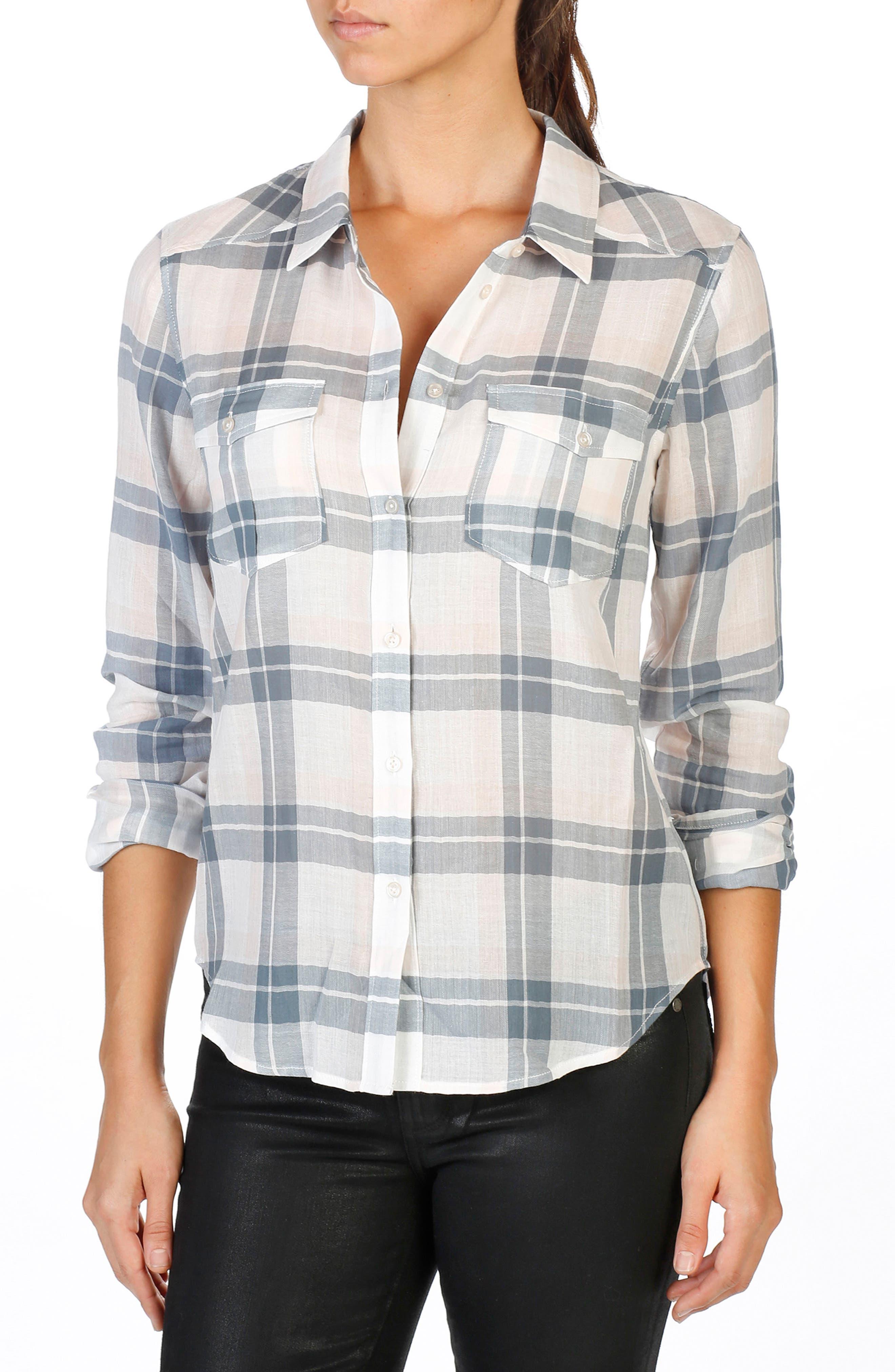 Mya Plaid Shirt,                         Main,                         color, 100