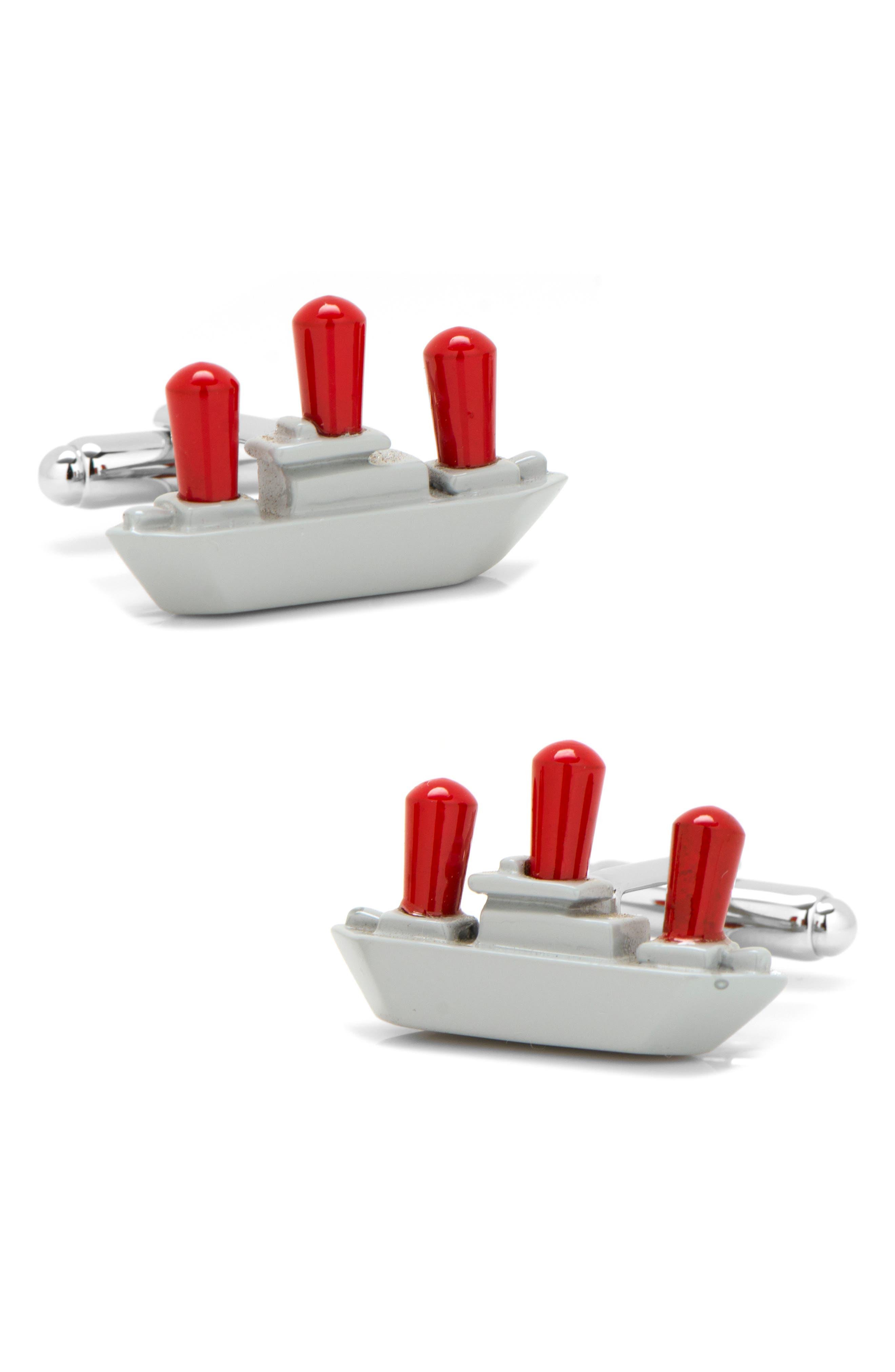 Battleship Cuff Links,                         Main,                         color, METALLIC SILVER