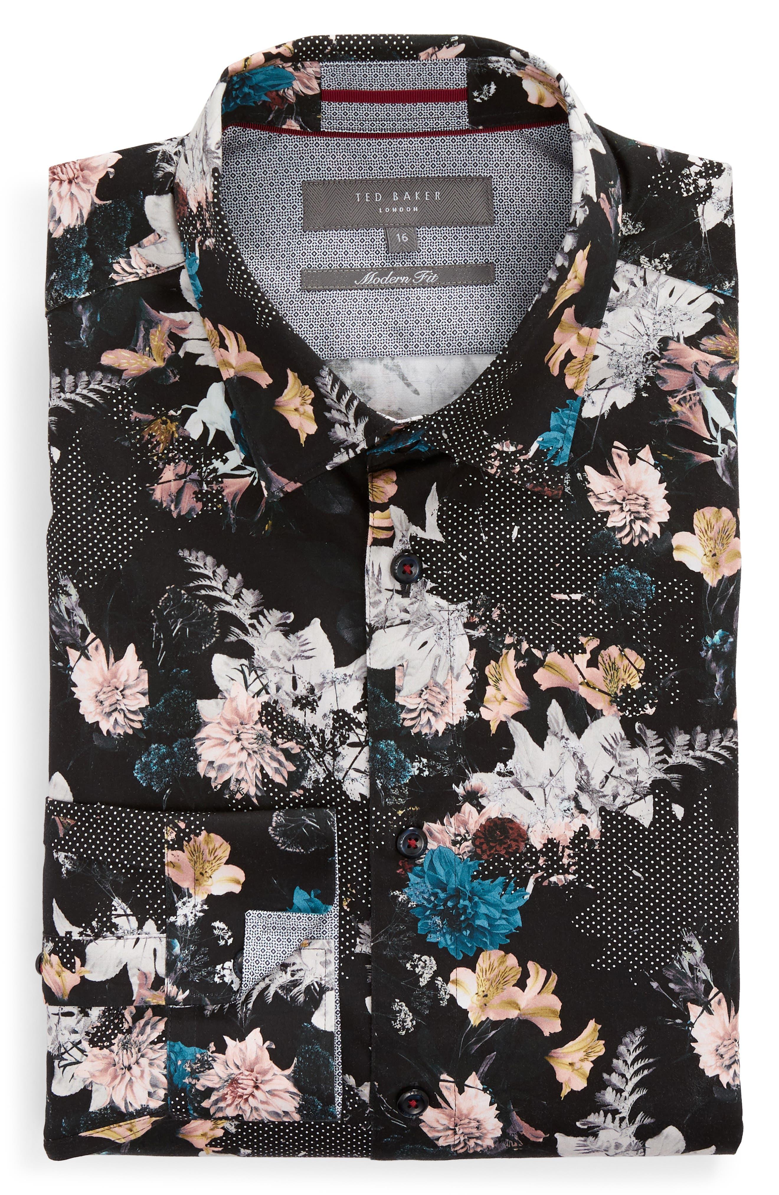 Rhubarb Modern Fit Floral Dress Shirt,                             Alternate thumbnail 5, color,                             BLACK
