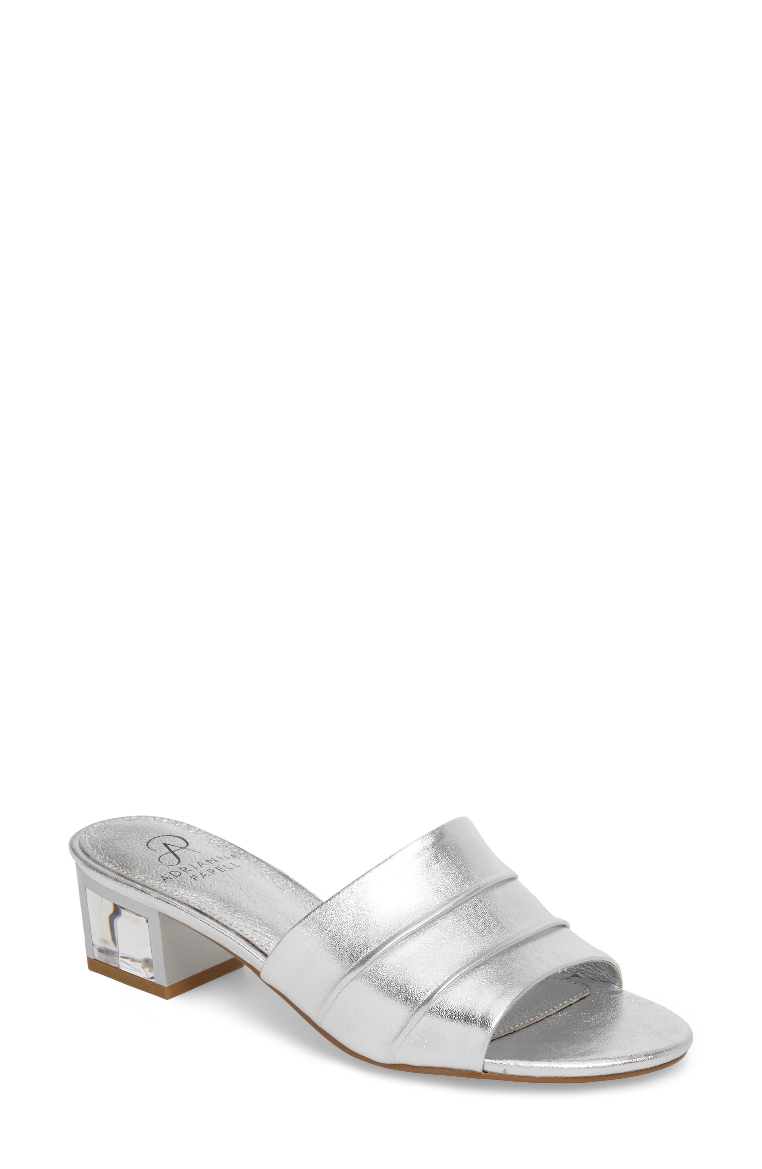 Tiana Block Heel Slide Sandal,                             Main thumbnail 1, color,                             SILVER LEATHER
