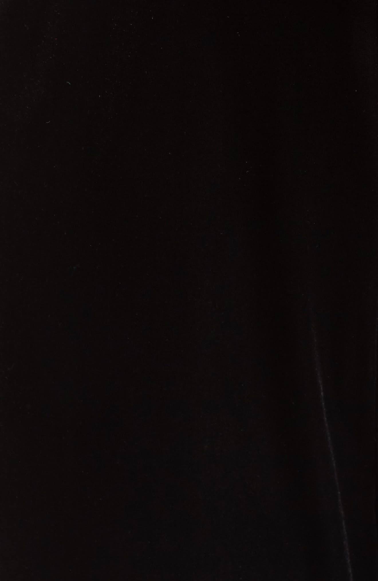 Ruffle Neck Velvet Jumpsuit,                             Alternate thumbnail 6, color,                             BLACK