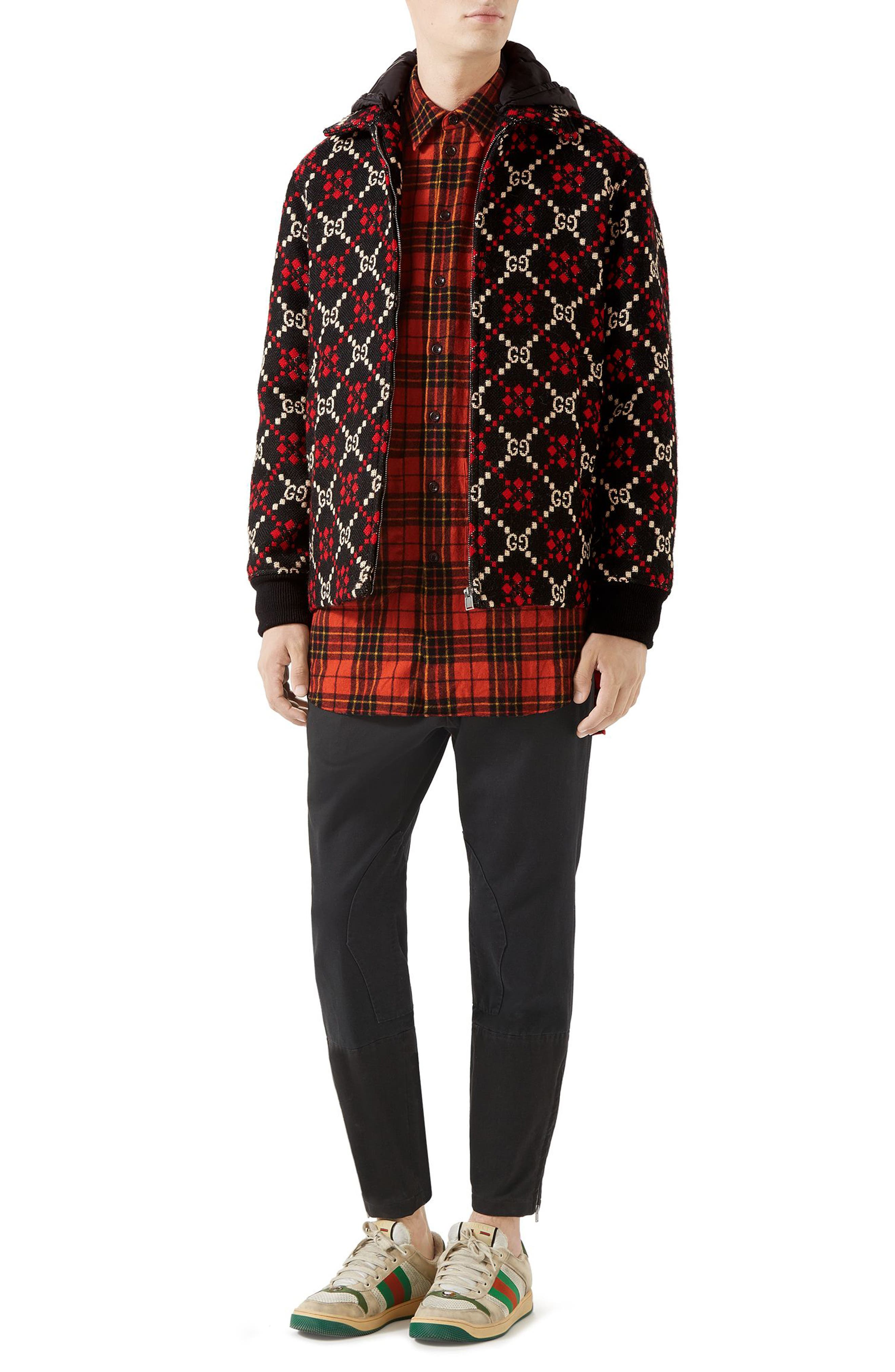 GG Wool Jacket,                             Alternate thumbnail 3, color,                             BLACK