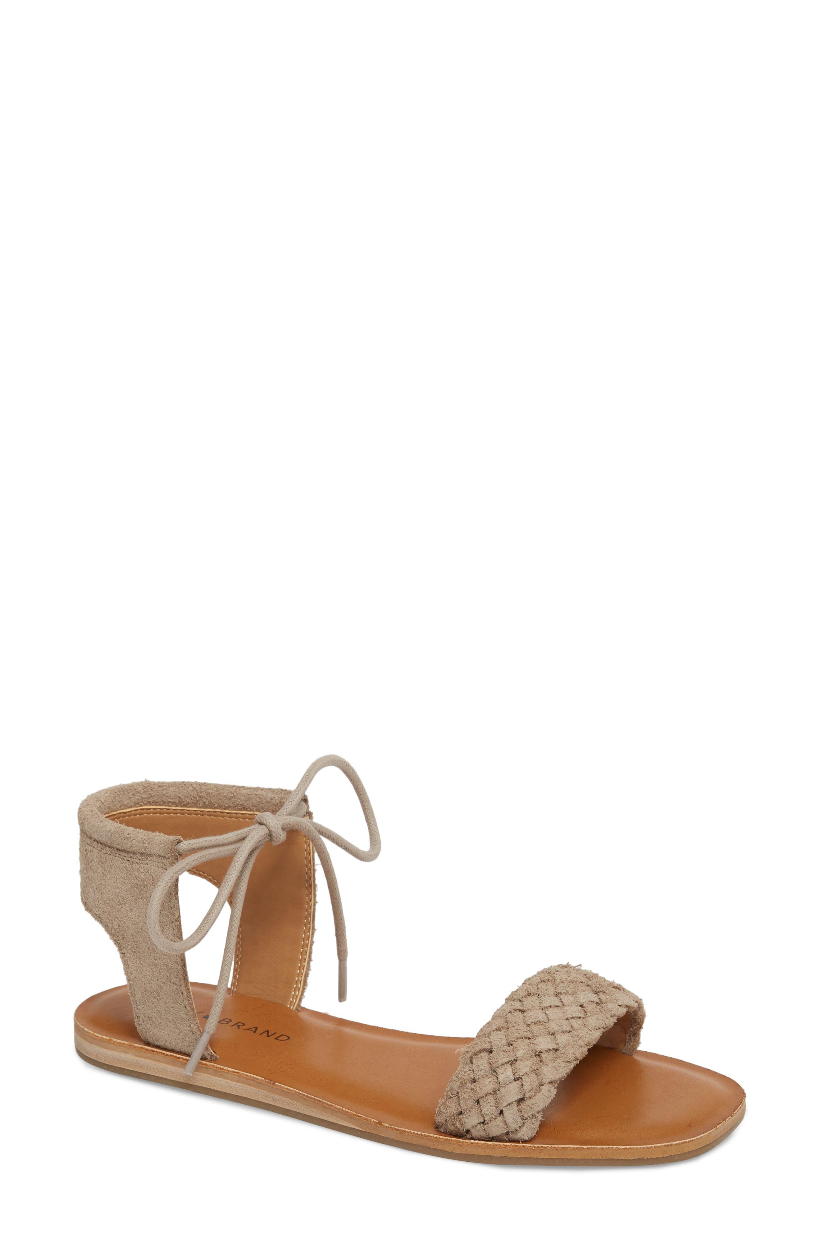 Lucky Brand Adannta Ankle Tie Sandal, Beige