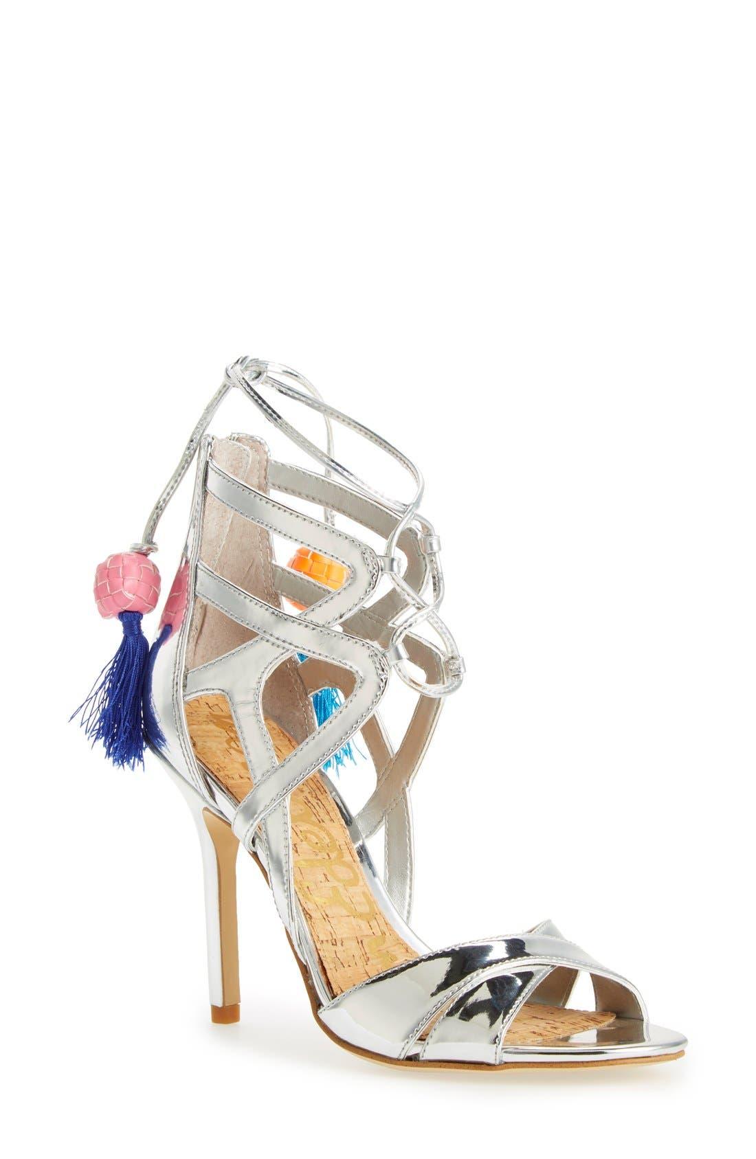 'Azela' Tassel Lace-Up Sandal,                             Main thumbnail 1, color,                             040