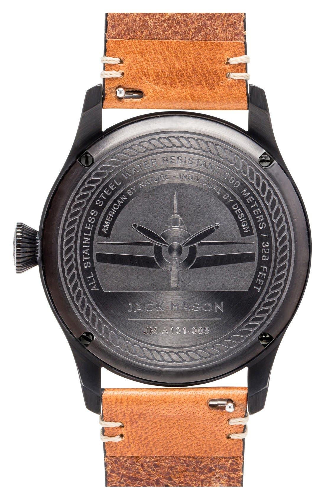Aviation Leather Strap Watch, 42mm,                             Alternate thumbnail 2, color,                             BLACK/ BLACK/ TAN