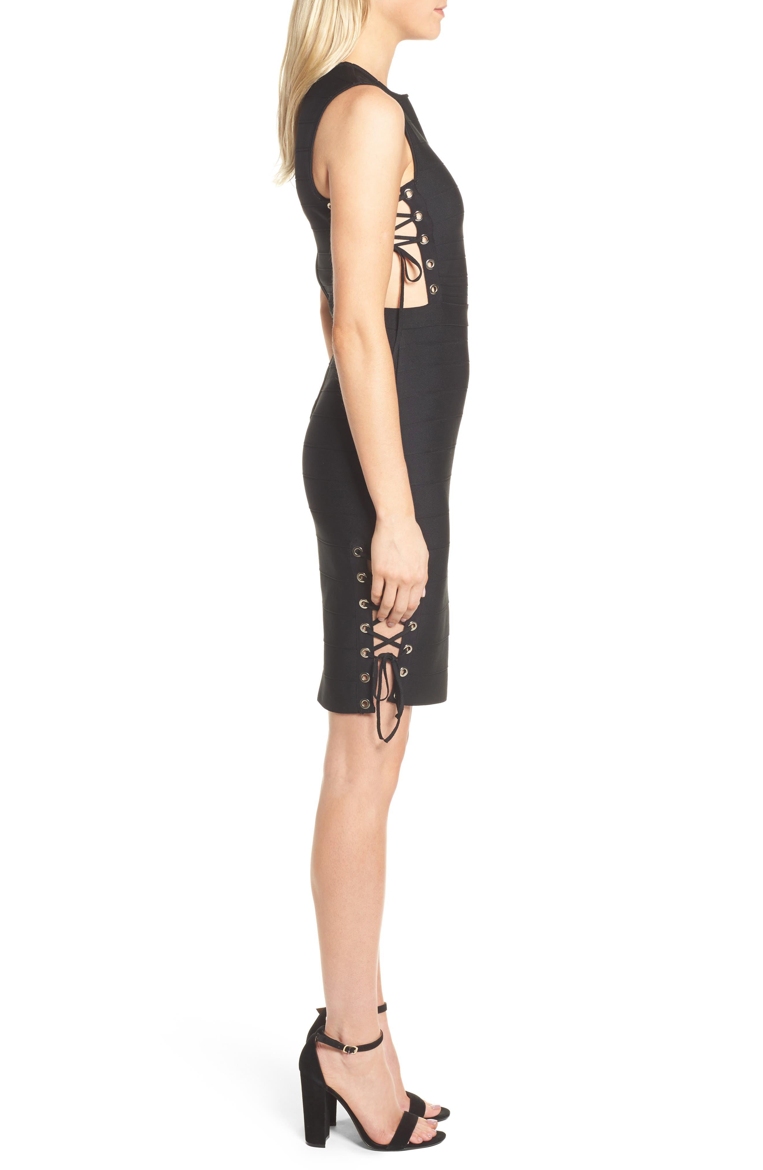 Lace-Up Bandage Dress,                             Alternate thumbnail 3, color,                             001