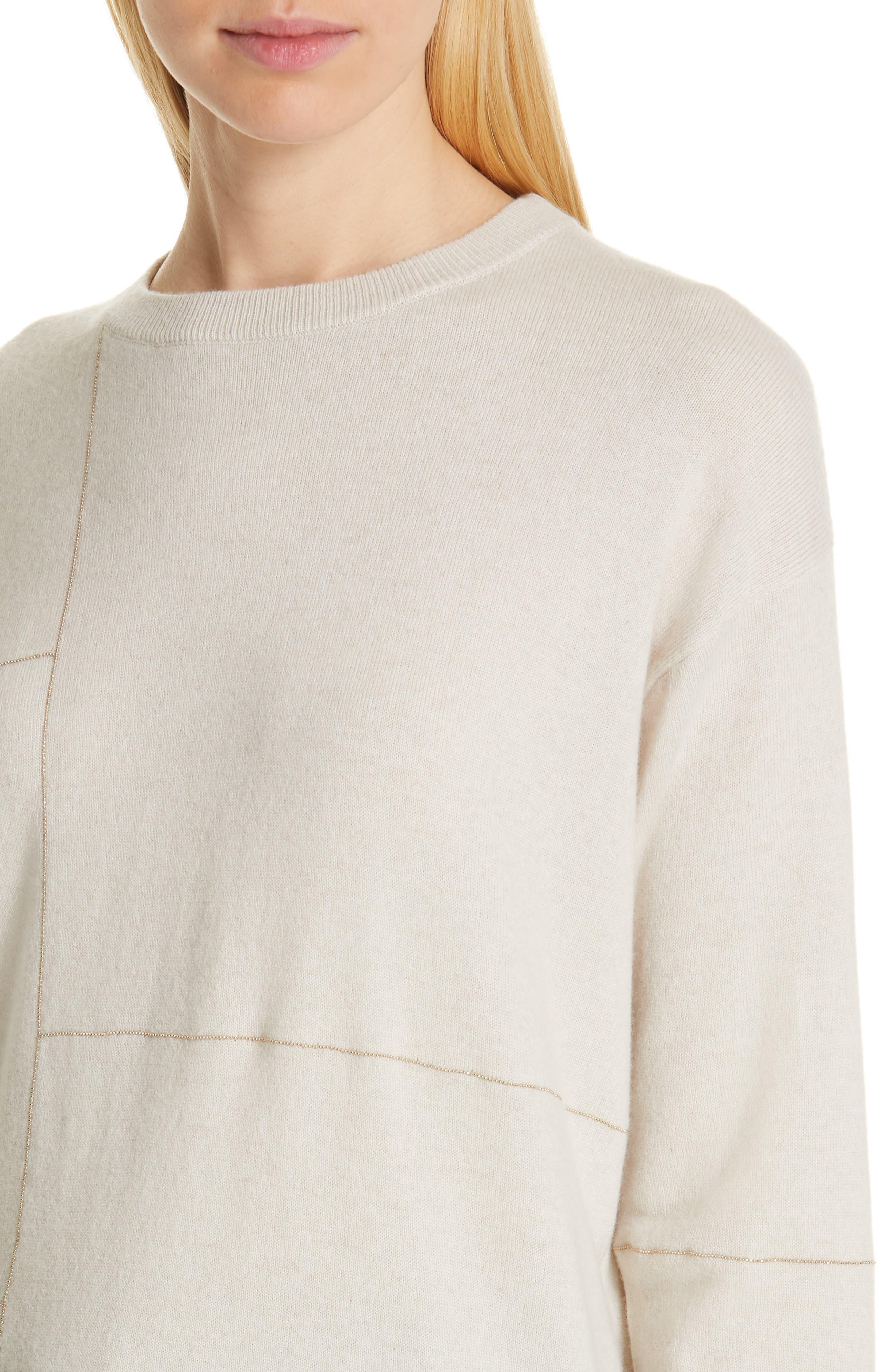 Monili Patchwork Cashmere Sweater,                             Alternate thumbnail 4, color,                             BUTTERMILK