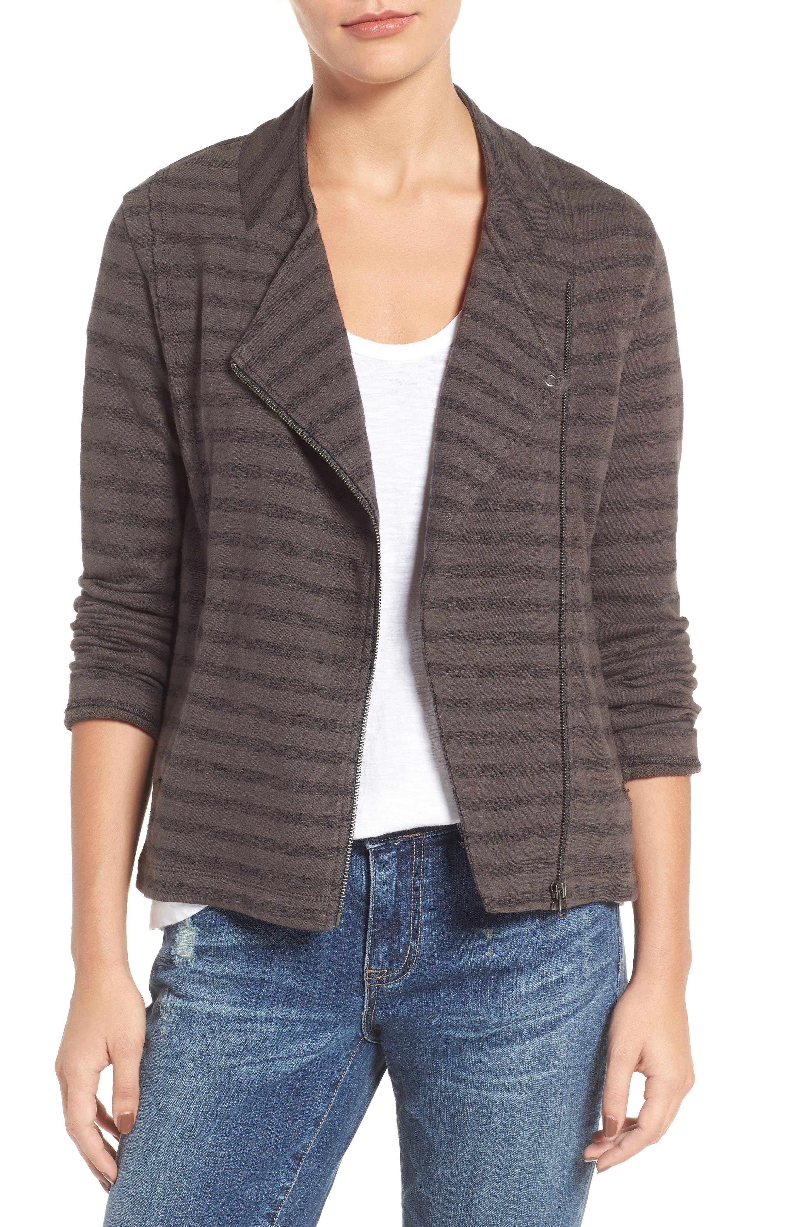 CASLON<SUP>®</SUP>,                             Stripe Moto Jacket,                             Main thumbnail 1, color,                             021