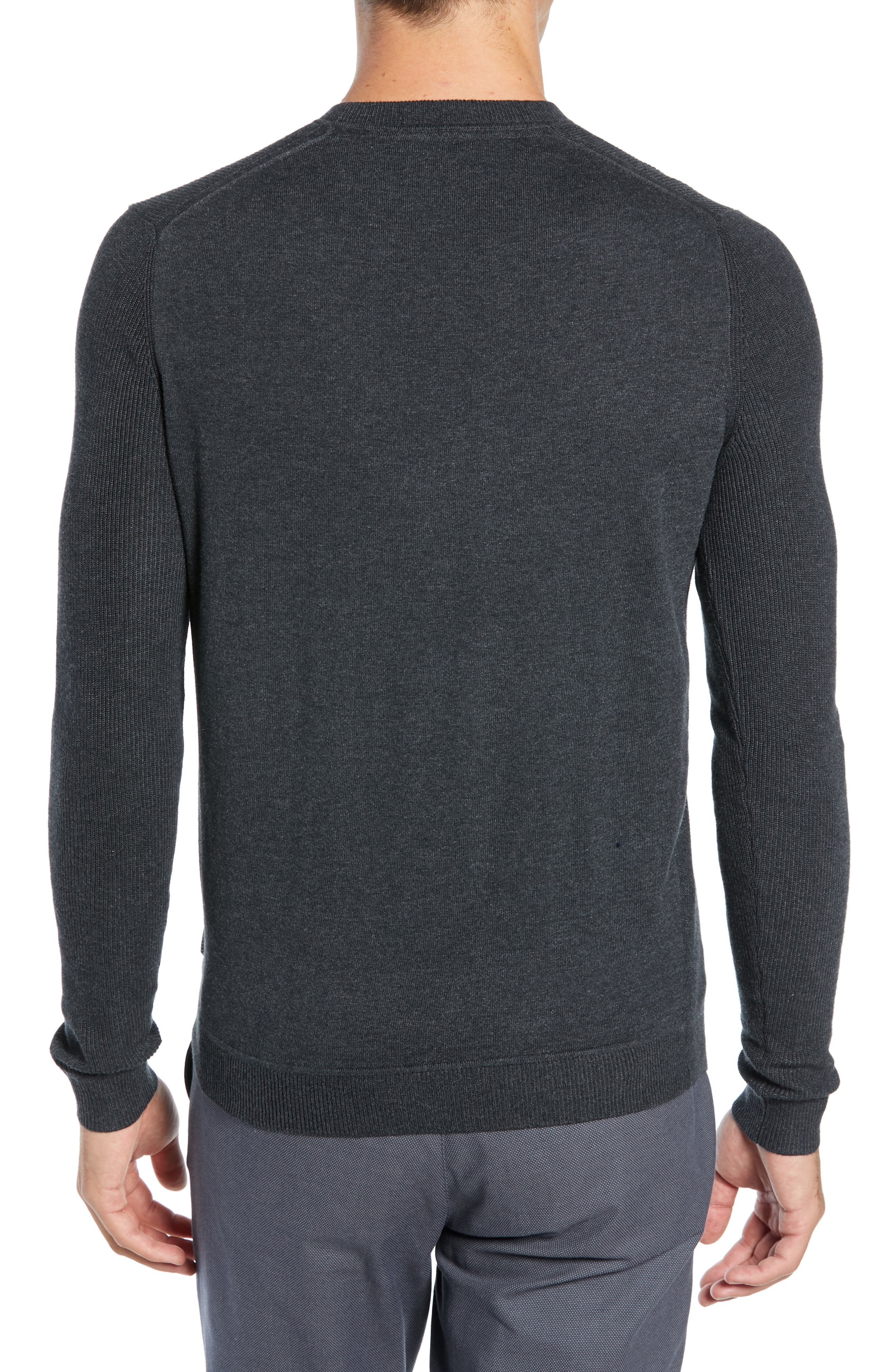 Reversy Slim Fit Crewneck Long Sleeve T-Shirt,                             Alternate thumbnail 2, color,                             CHARCOAL