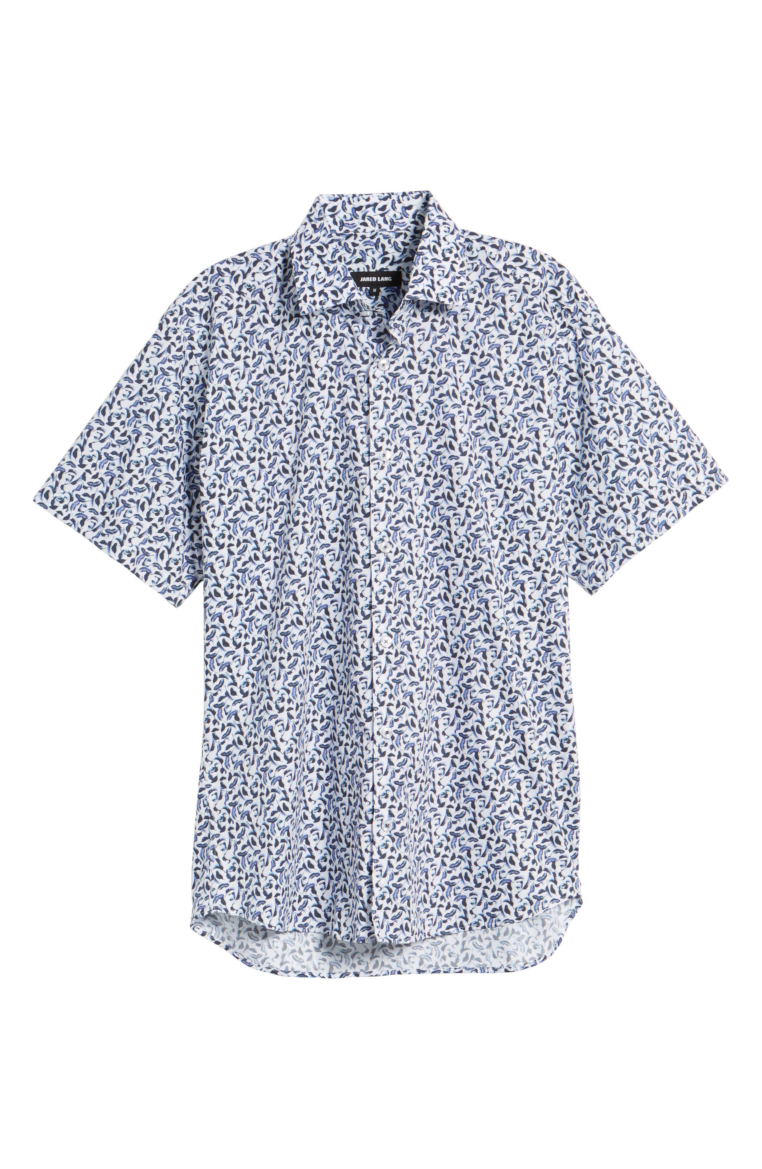 Slim Fit Feather Print Sport Shirt,                             Alternate thumbnail 6, color,                             999