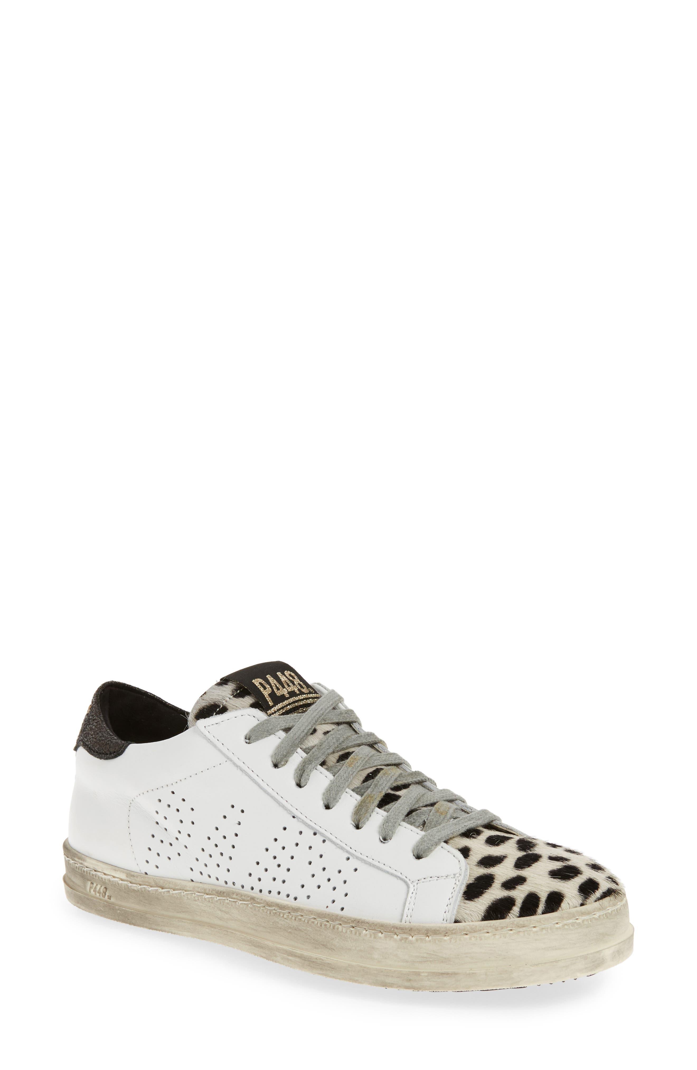 John Sneaker,                         Main,                         color, WHITE LEATHER/ CHEETAH