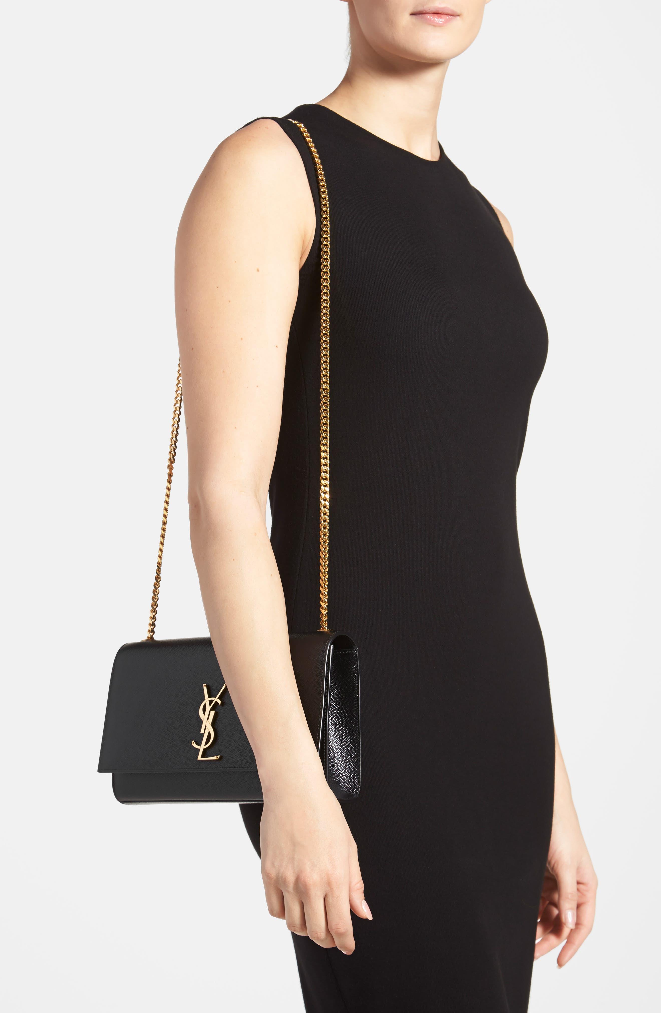 'Medium Kate' Leather Chain Shoulder Bag,                             Alternate thumbnail 3, color,                             NOIR