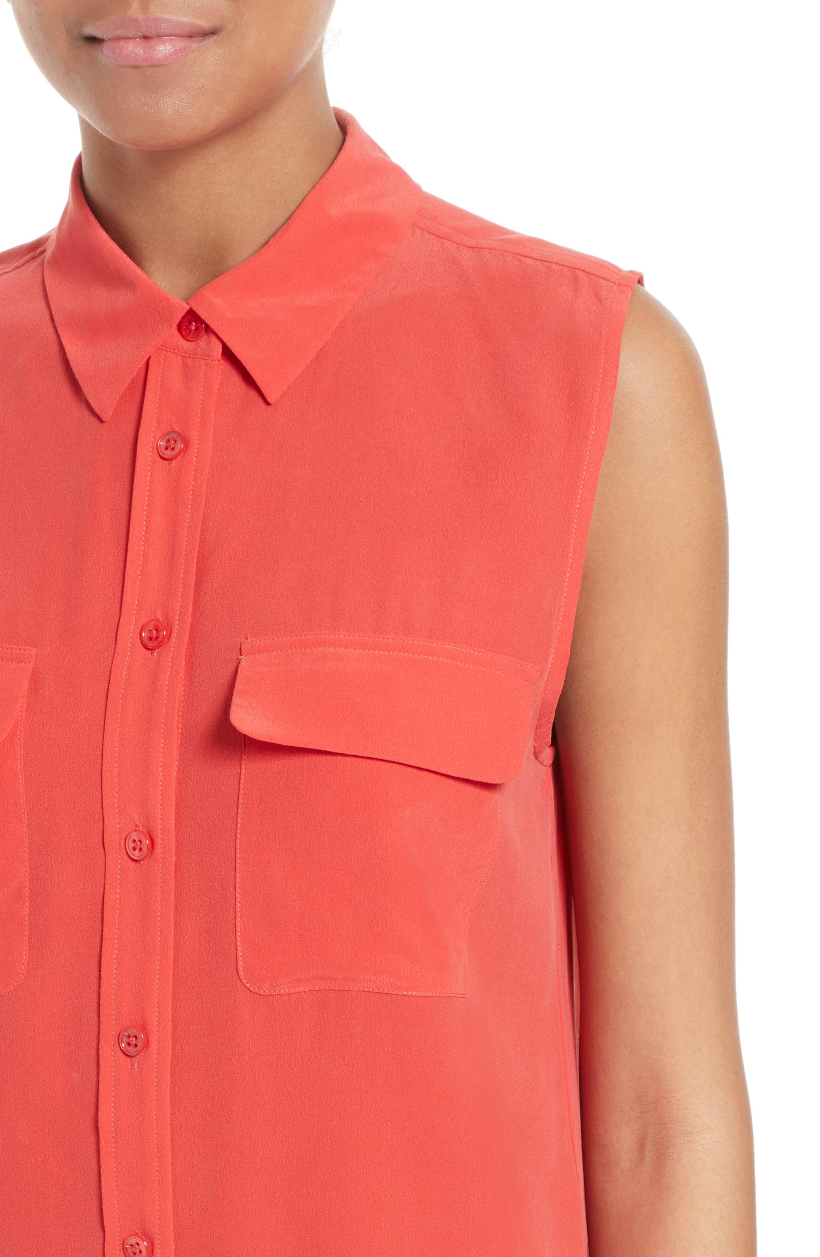 'Slim Signature' Sleeveless Silk Shirt,                             Alternate thumbnail 128, color,