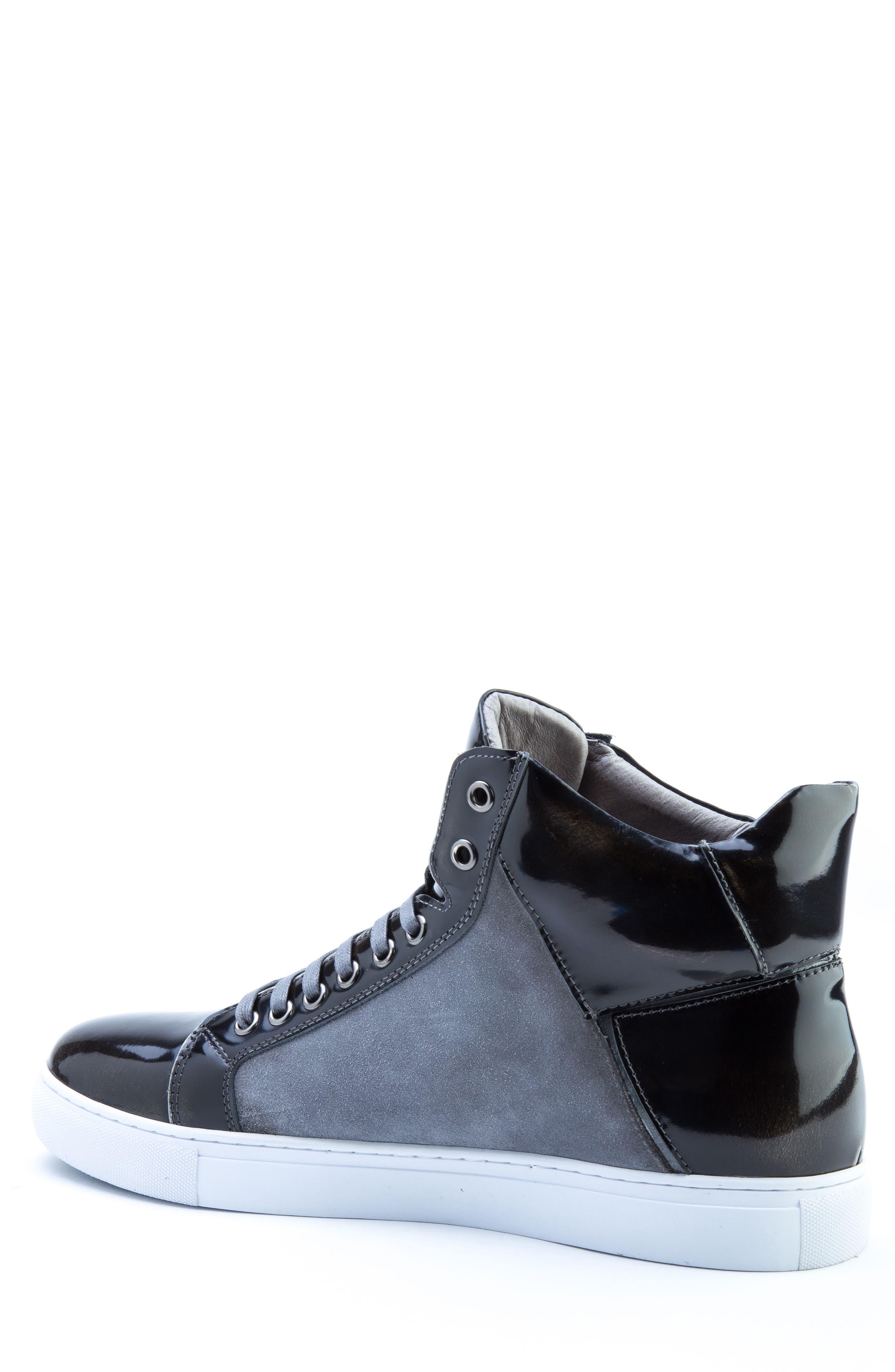 Douglas High Top Sneaker,                             Alternate thumbnail 2, color,                             BLACK LEATHER