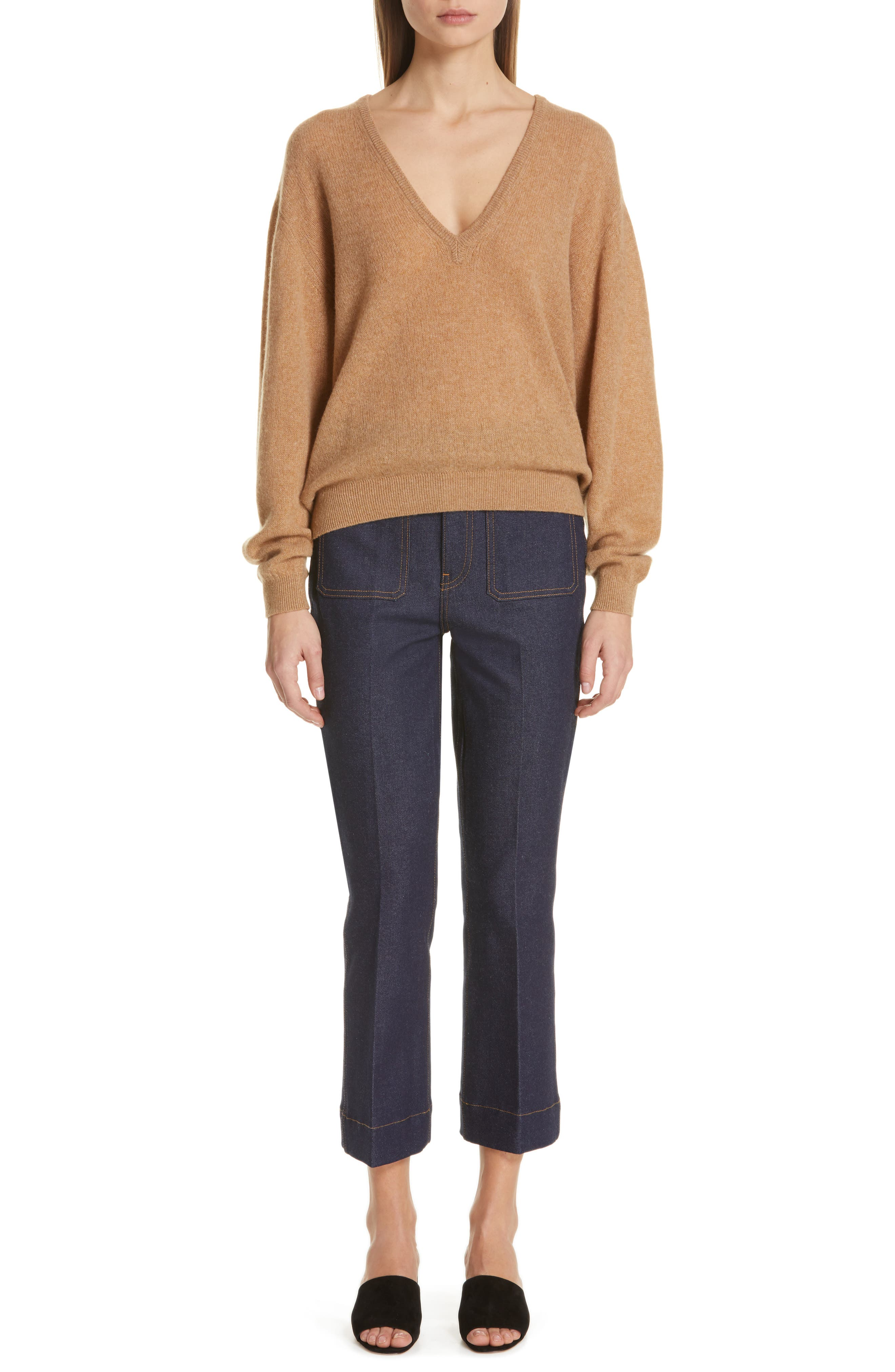 KHAITE,                             Sam Cashmere Sweater,                             Alternate thumbnail 8, color,                             CAMEL