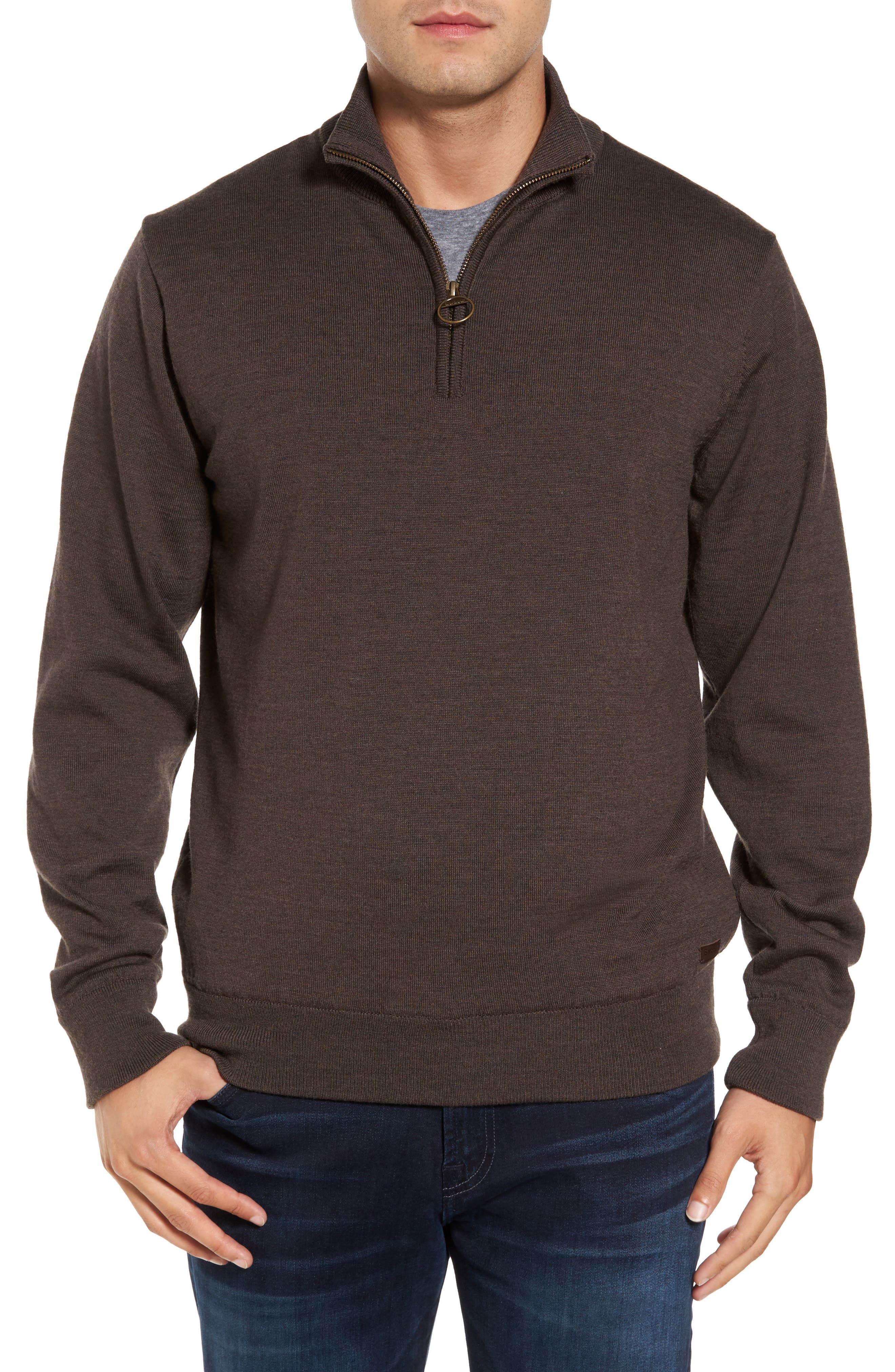 Gamlin Quarter Zip Wool Pullover,                             Main thumbnail 1, color,                             RUSTIC