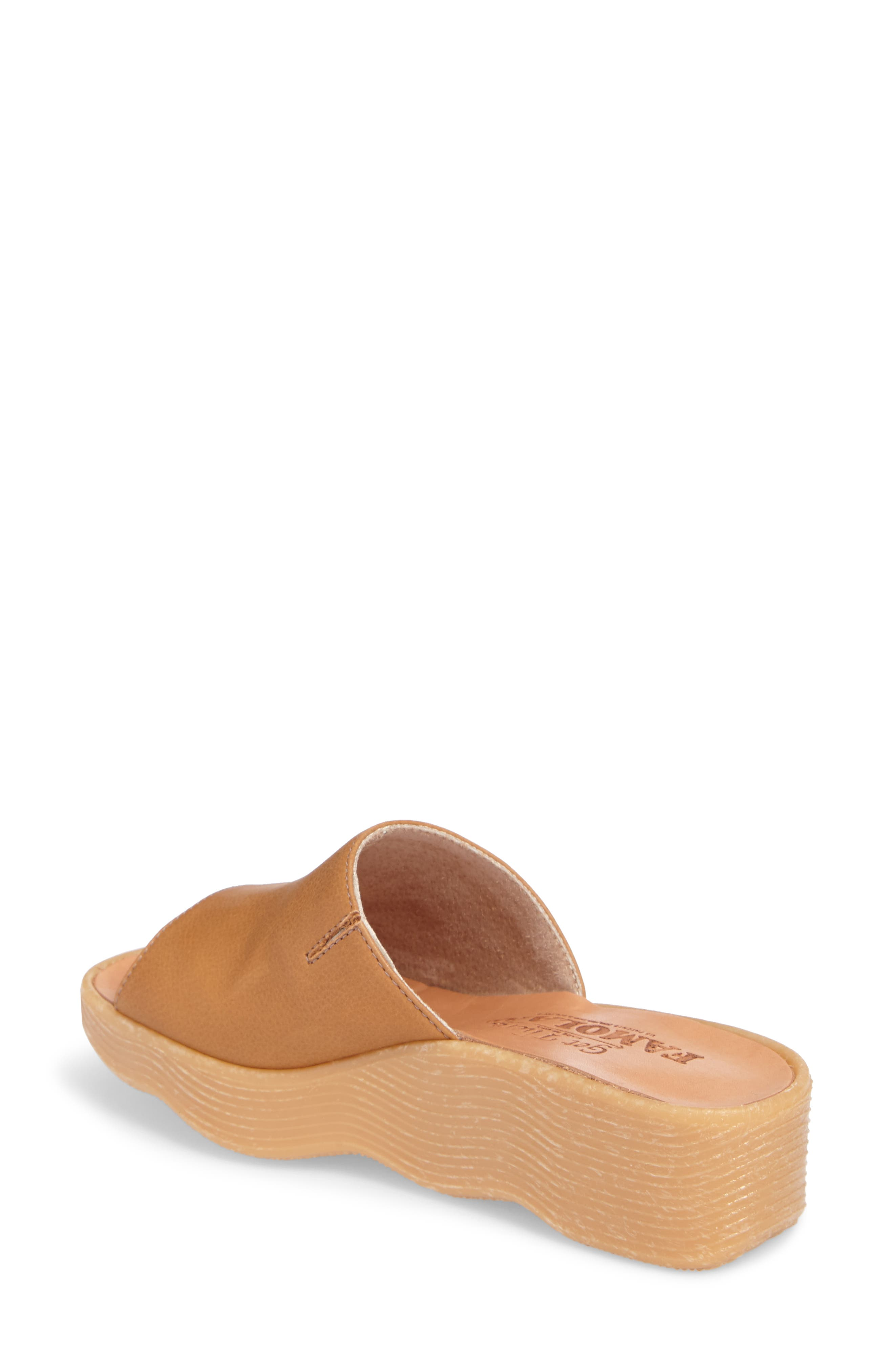 Slide N Sleek Wedge Slide Sandal,                             Alternate thumbnail 2, color,                             COGNAC LEATHER