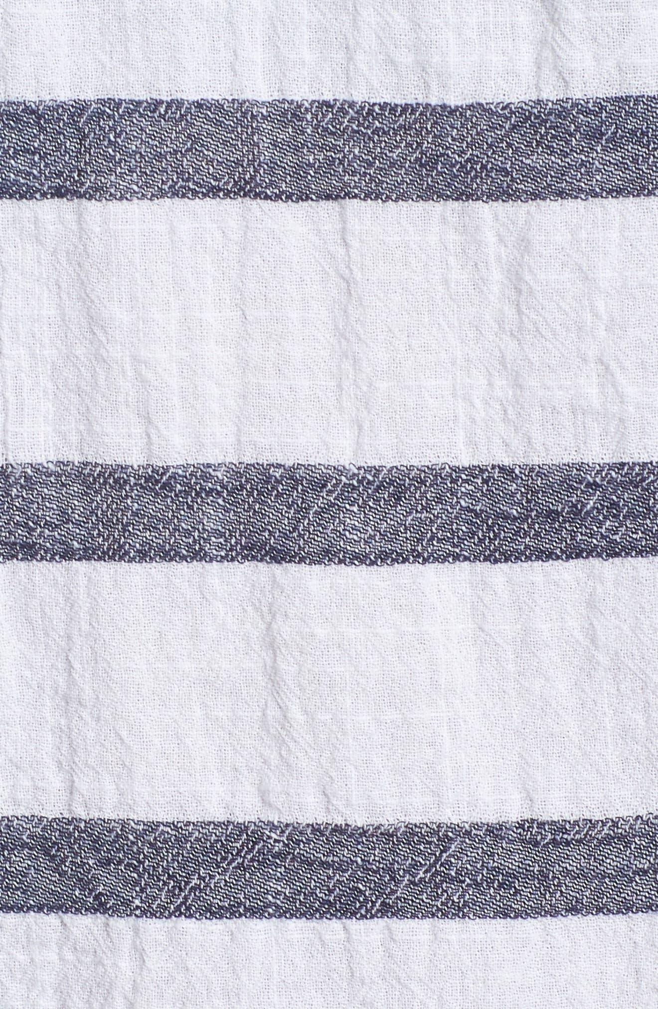 Stripe Cold Shoulder Cotton Gauze Top,                             Alternate thumbnail 6, color,                             NEW IVORY