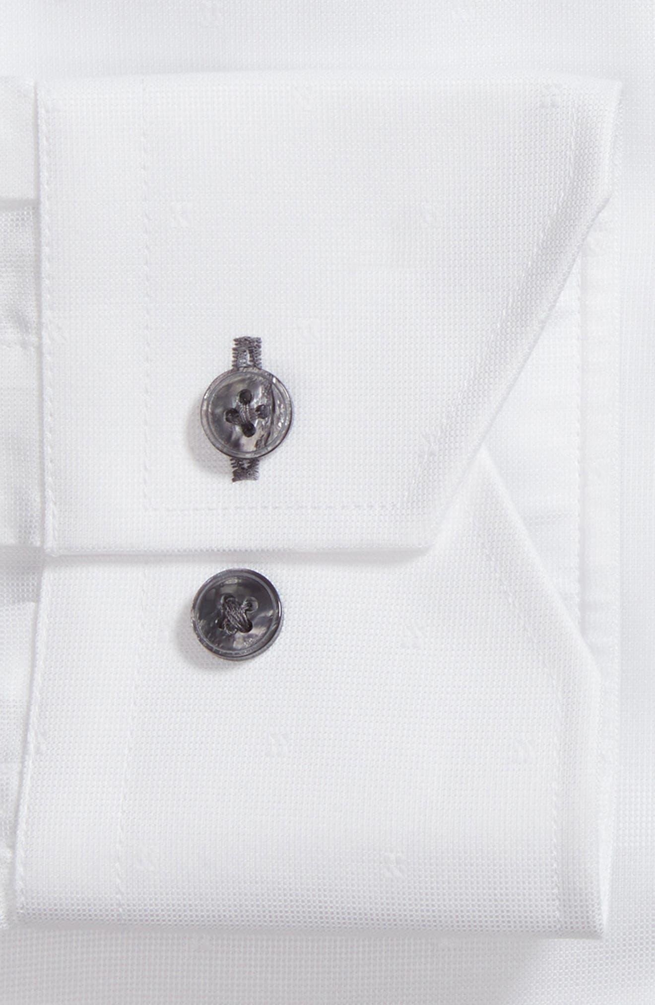 Trim Fit Textured Dress Shirt,                             Alternate thumbnail 6, color,                             WHITE