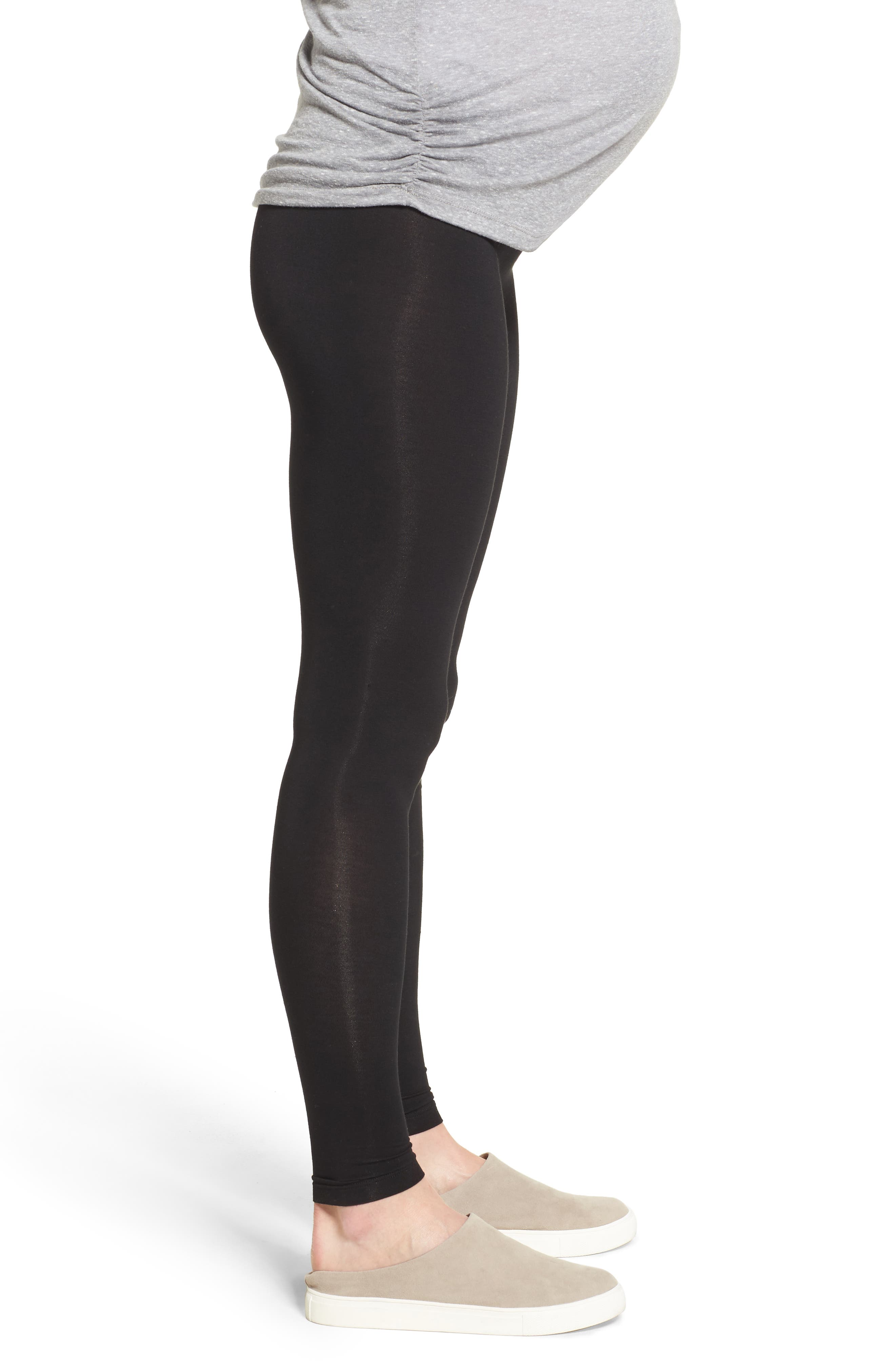 Foldover Waistband Maternity Leggings,                             Alternate thumbnail 3, color,                             BLACK