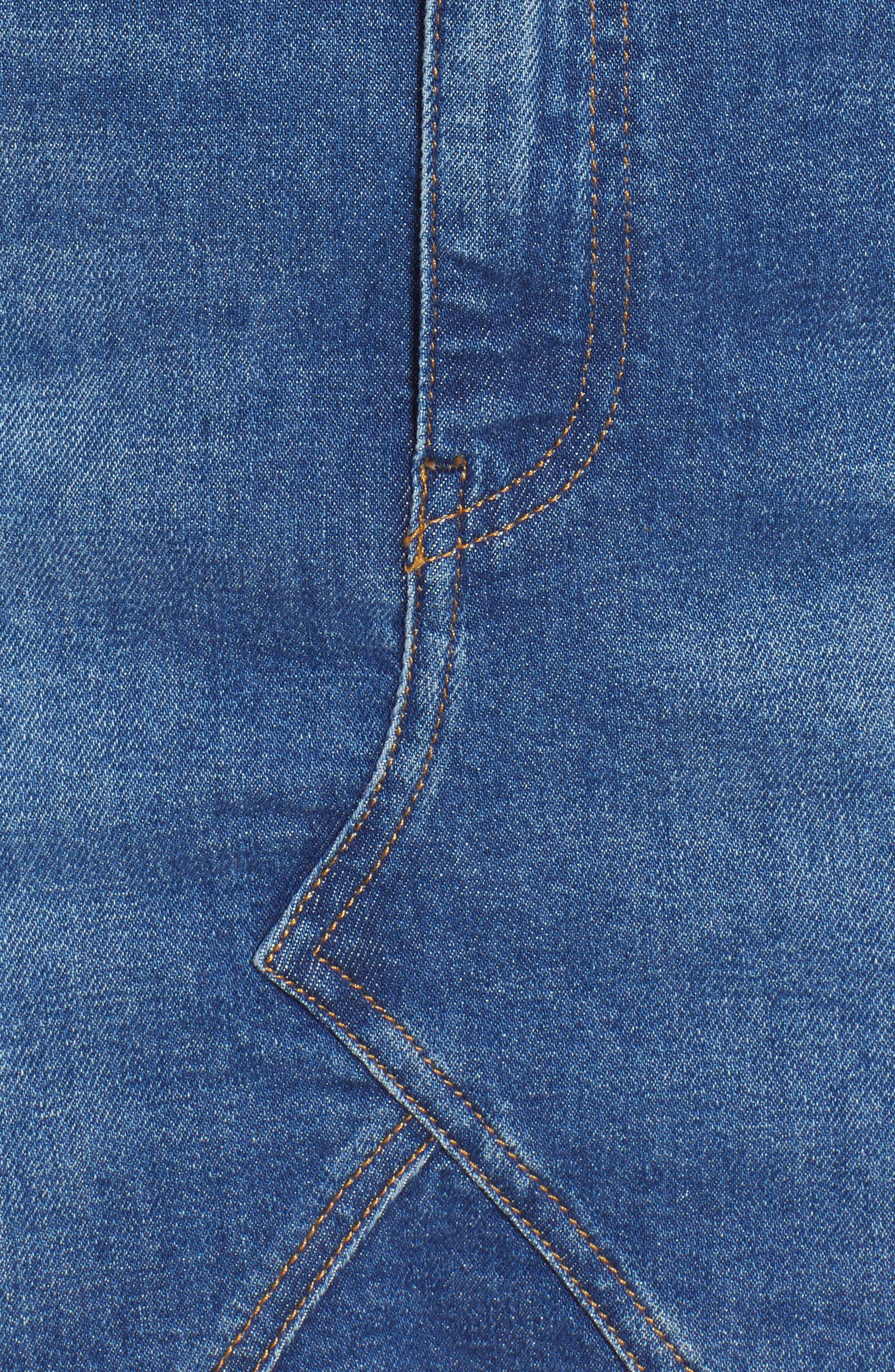 Denim Skirt,                             Alternate thumbnail 6, color,                             BIKER MID BLUE COMFORT