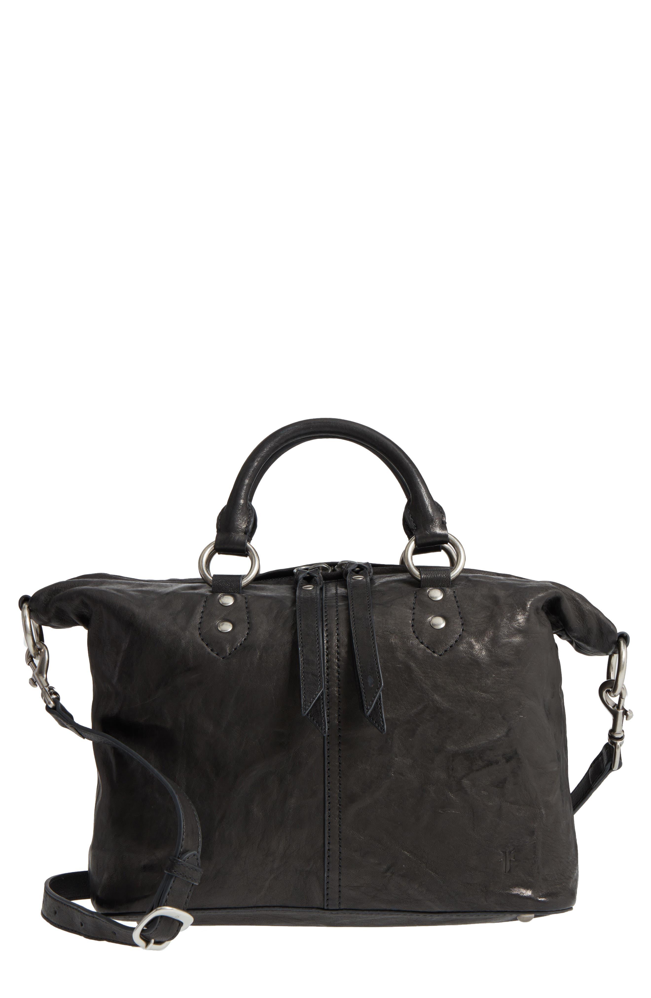 Veronica Sheepskin Leather Satchel,                         Main,                         color, 001