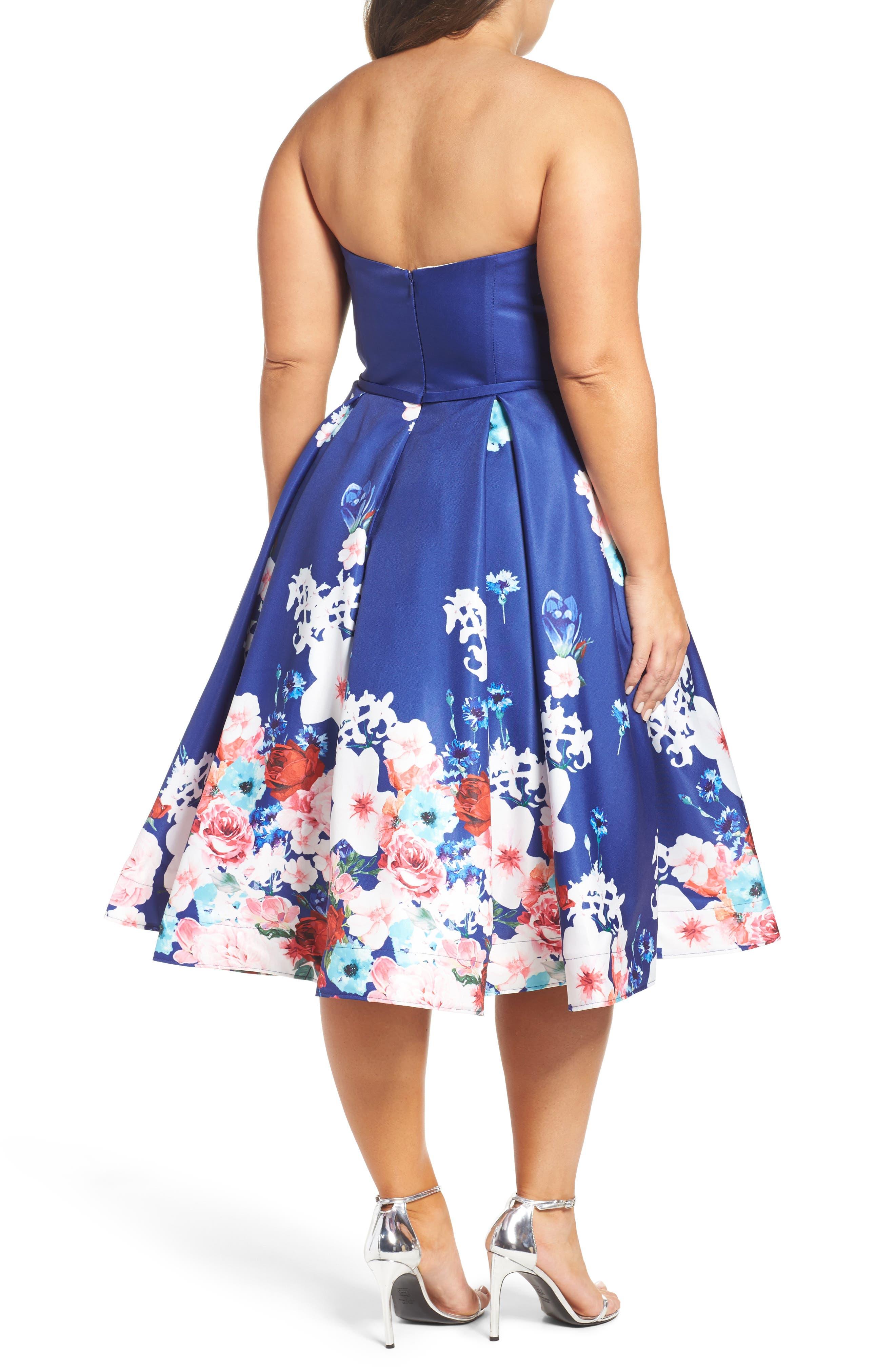 Floral Strapless Cocktail Dress,                             Alternate thumbnail 2, color,                             FLORAL