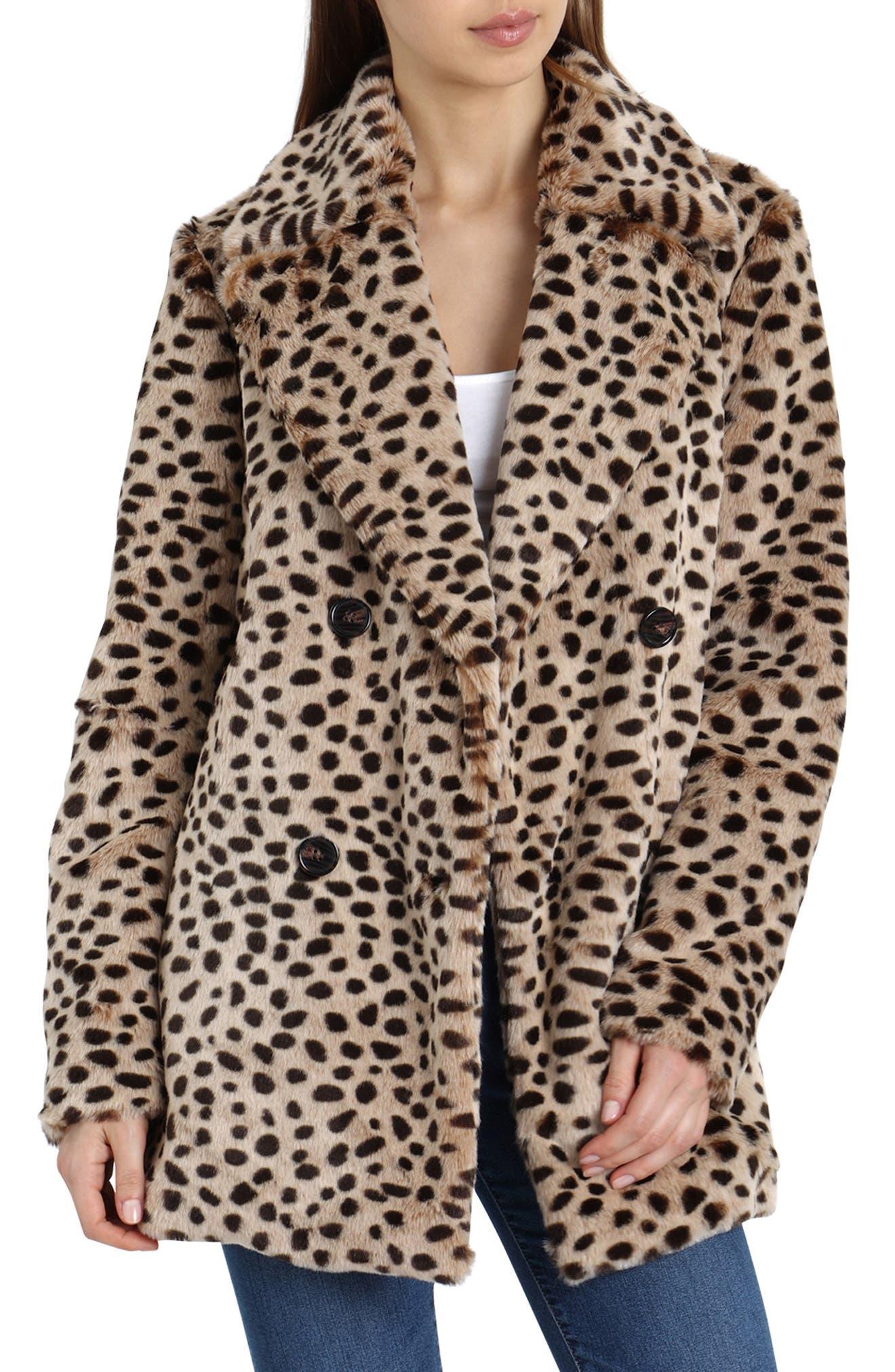 Leopard Print Faux Fur Coat,                         Main,                         color, LEOPARD PRINT