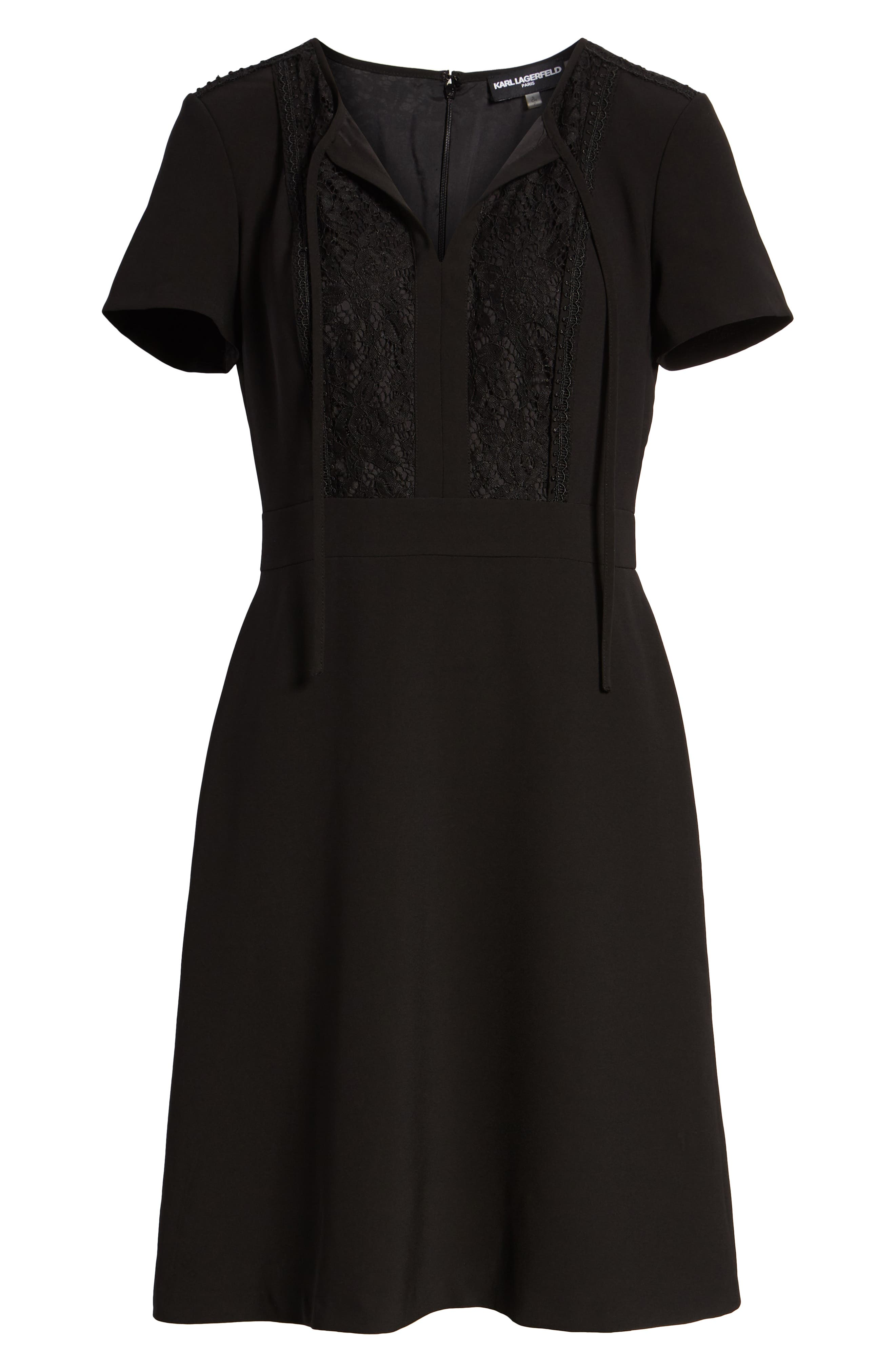Lace Bib Sheath Dress,                             Alternate thumbnail 7, color,                             BLACK