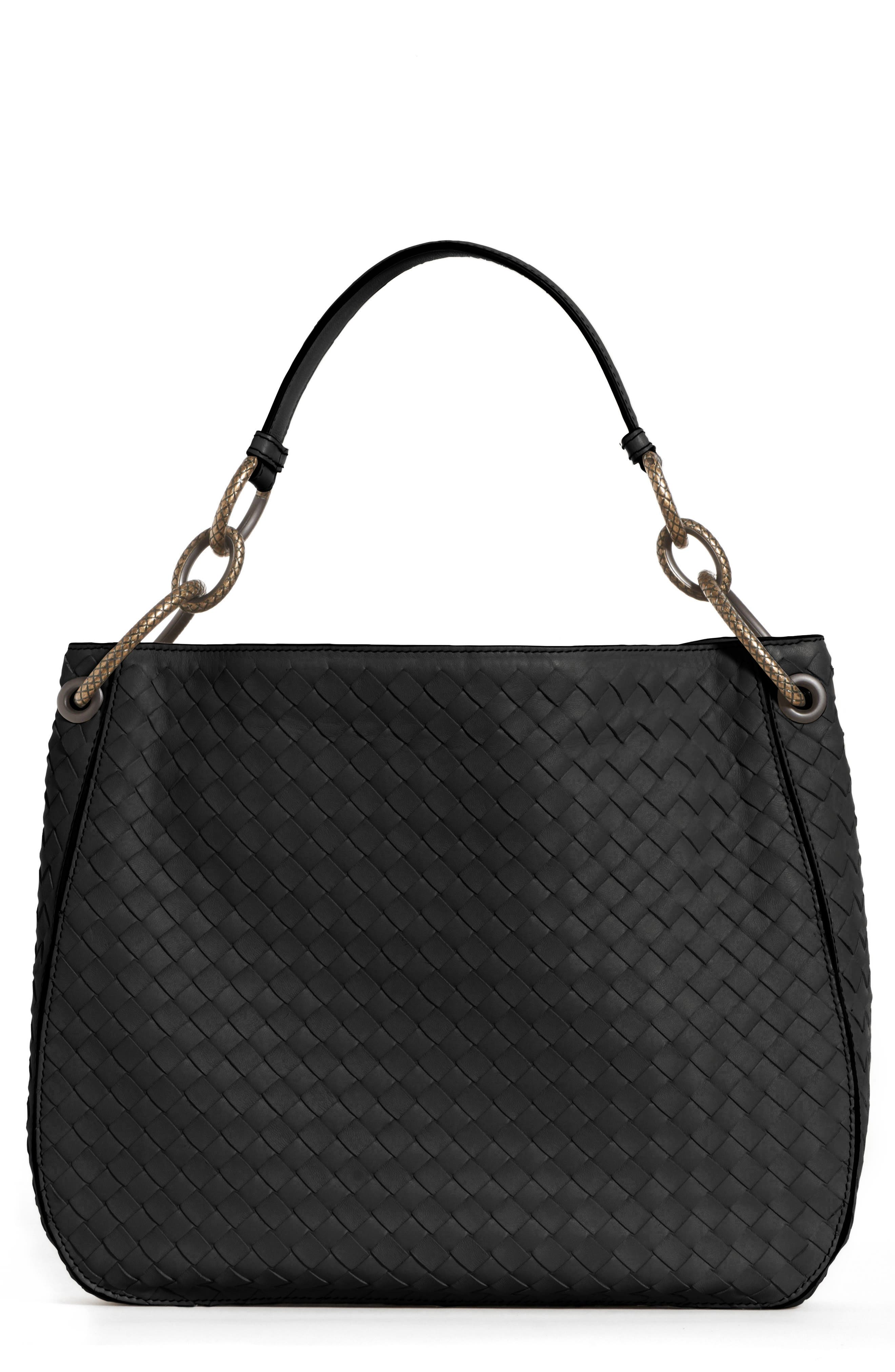 Small Loop Leather Hobo,                         Main,                         color, 001